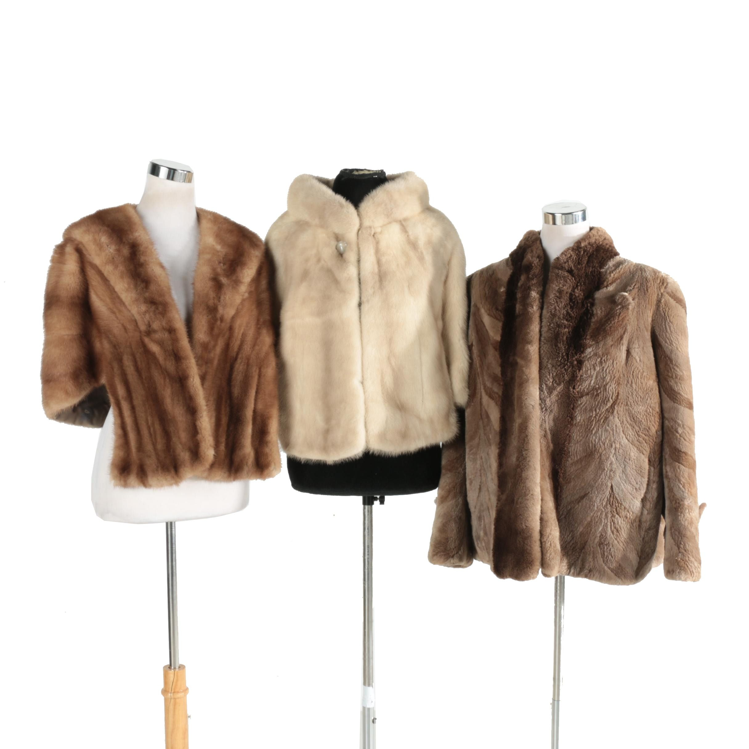 Two Mink Shrugs and a Sheared Beaver Jacket