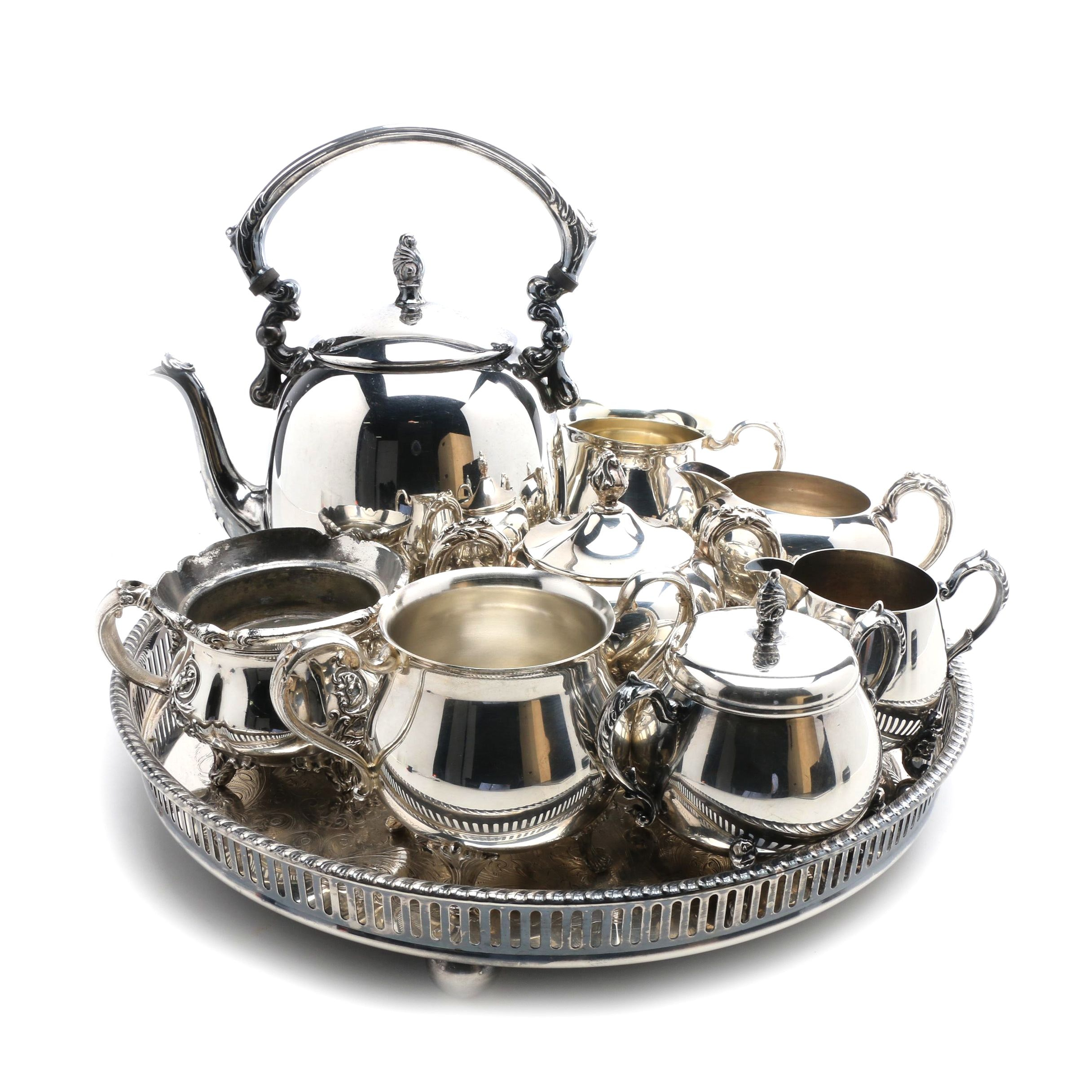 Sheridan Silver Plate Tea Set and Other Silver Plate Serving Items