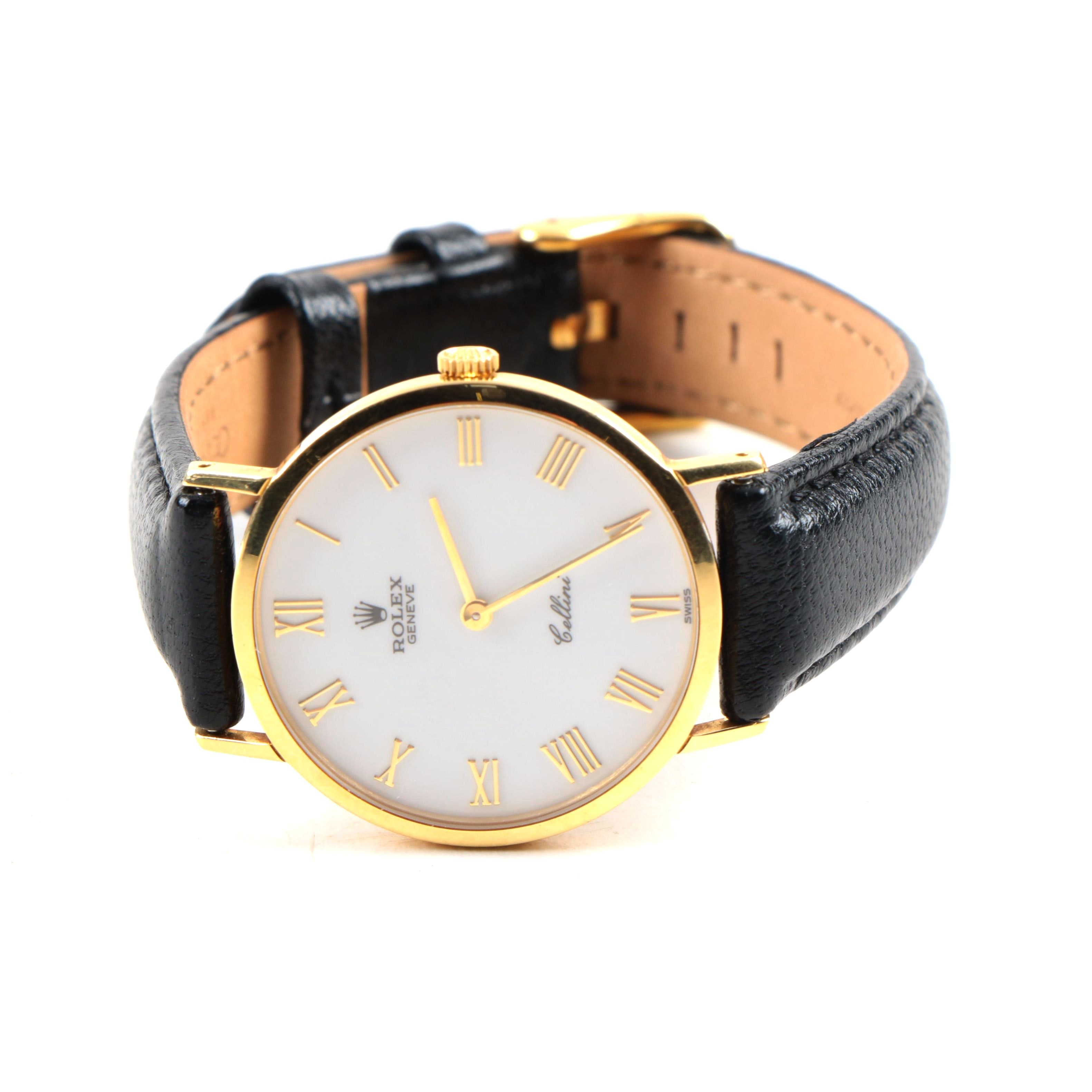 """Rolex 18K Yellow Gold Geneve """"Cellini"""" Wristwatch with Black Leather Band"""