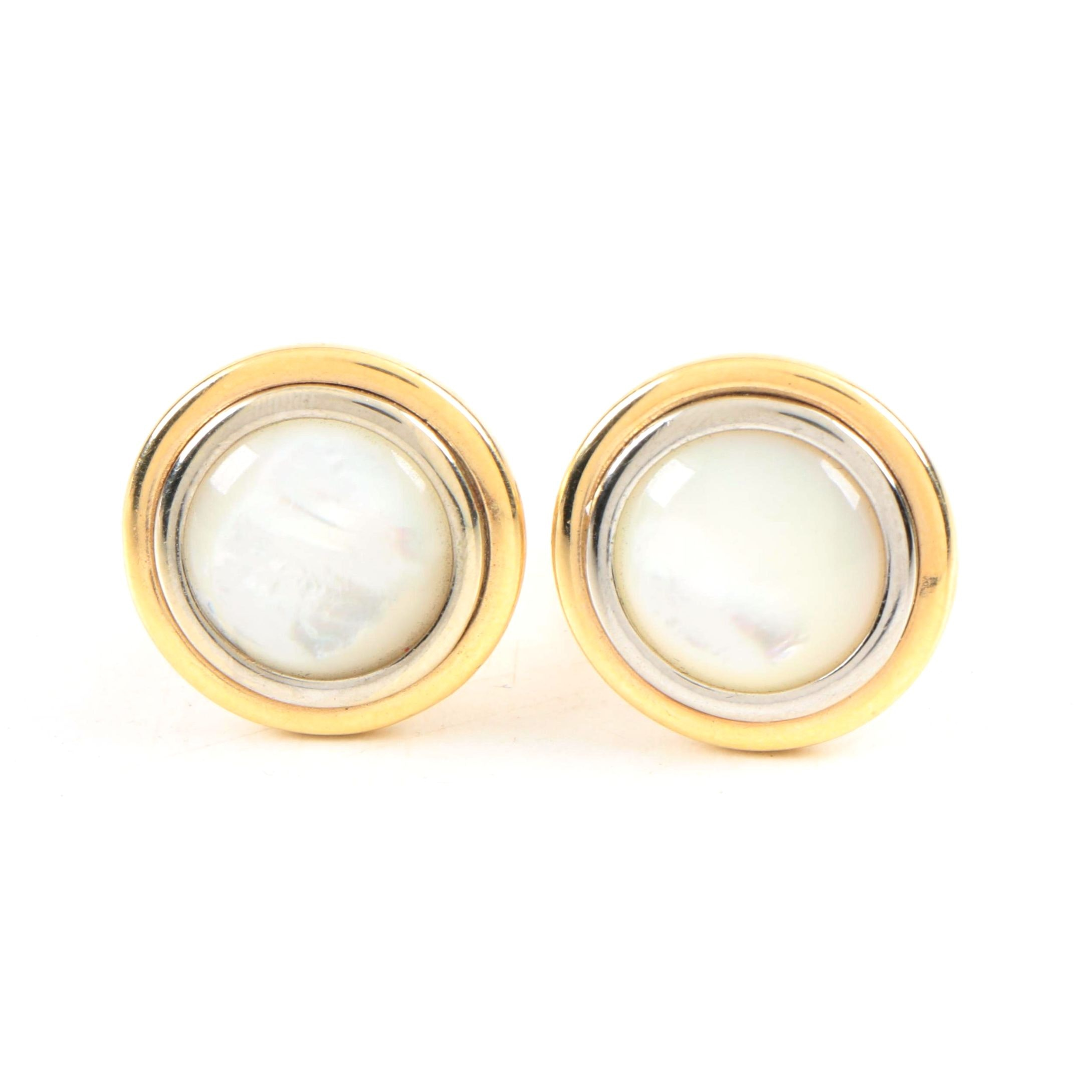 14K Yellow Gold and Mother of Pearl Cufflinks