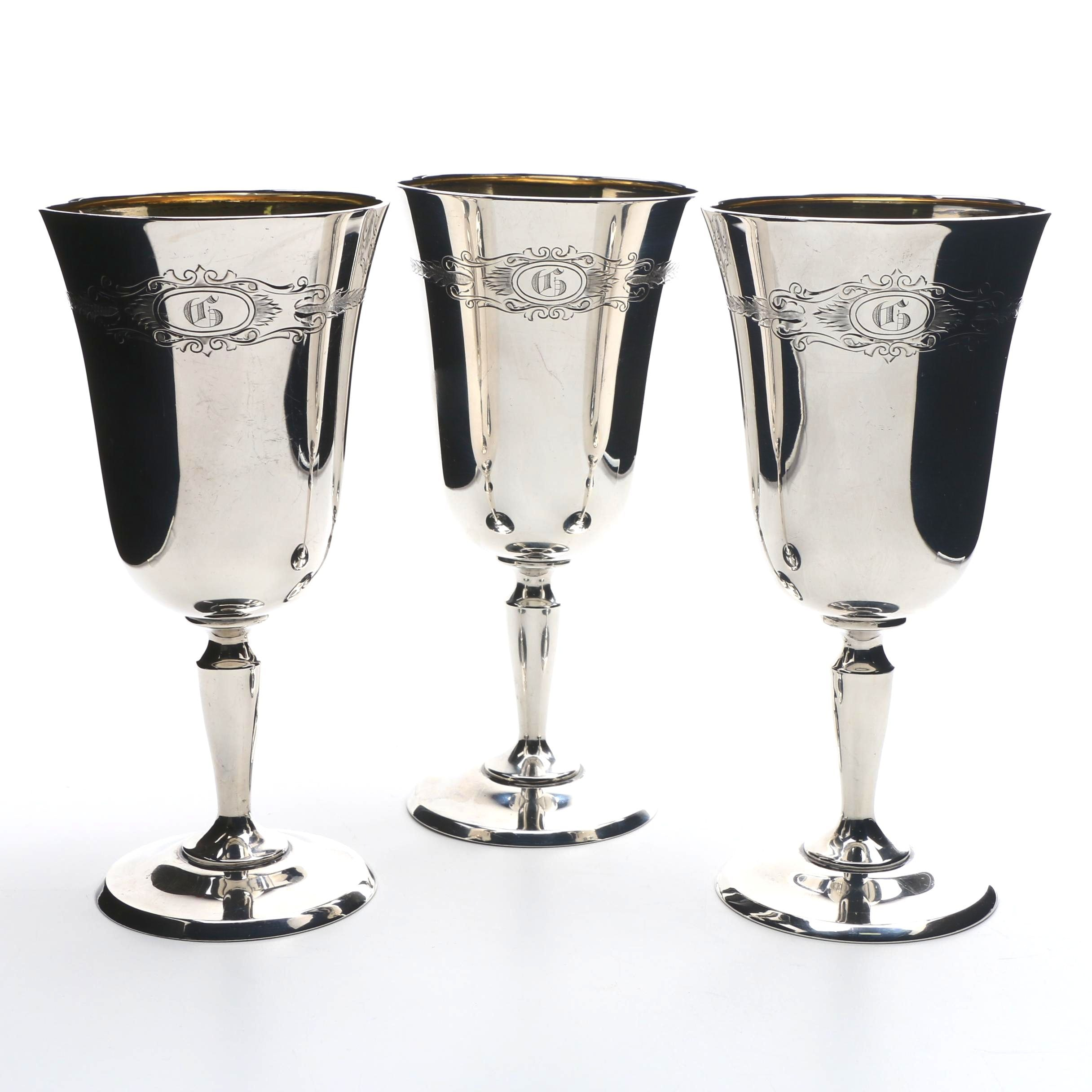 Sterling Silver Goblets with Monogram