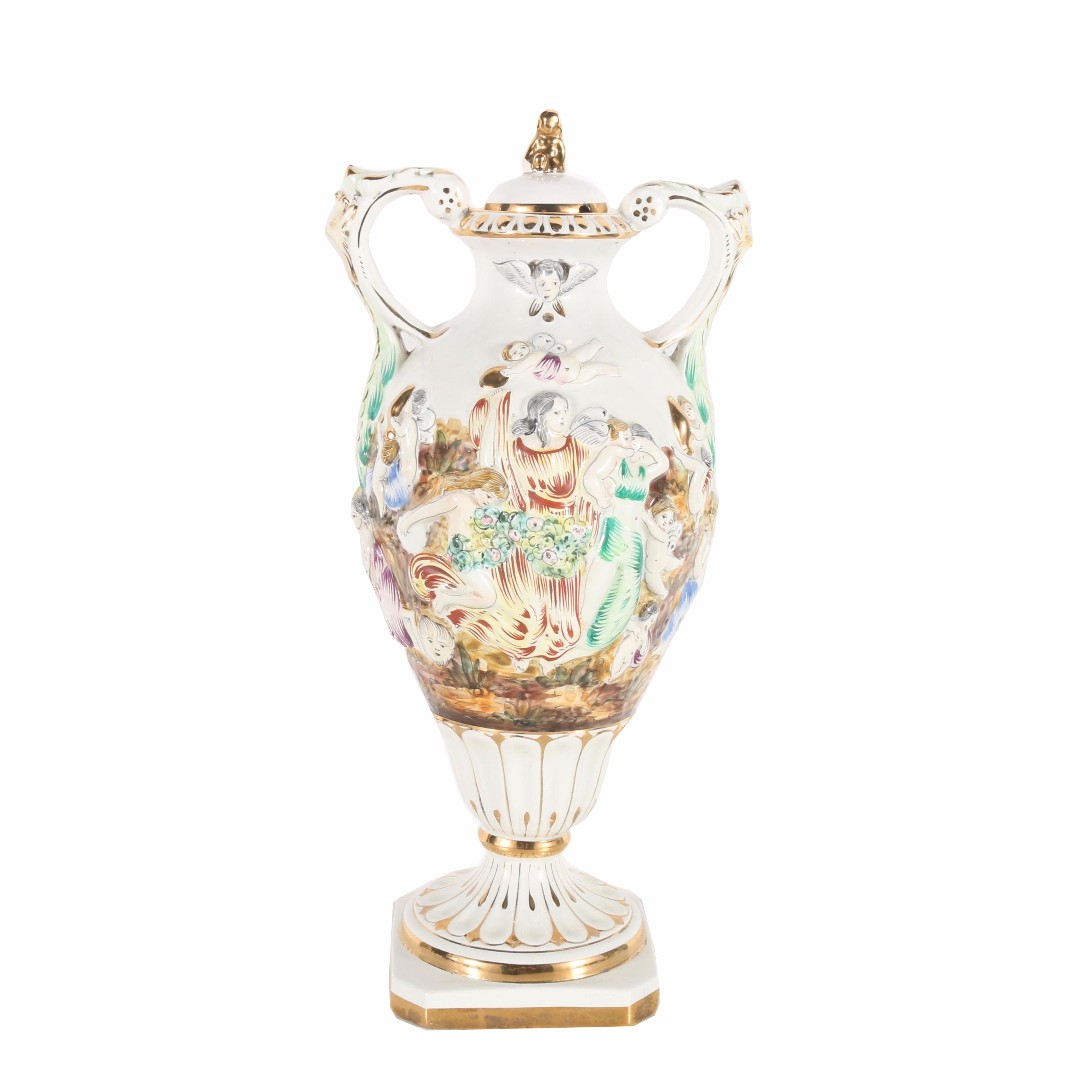 Capodimonte Hand Painted Porcelain Lidded Urn