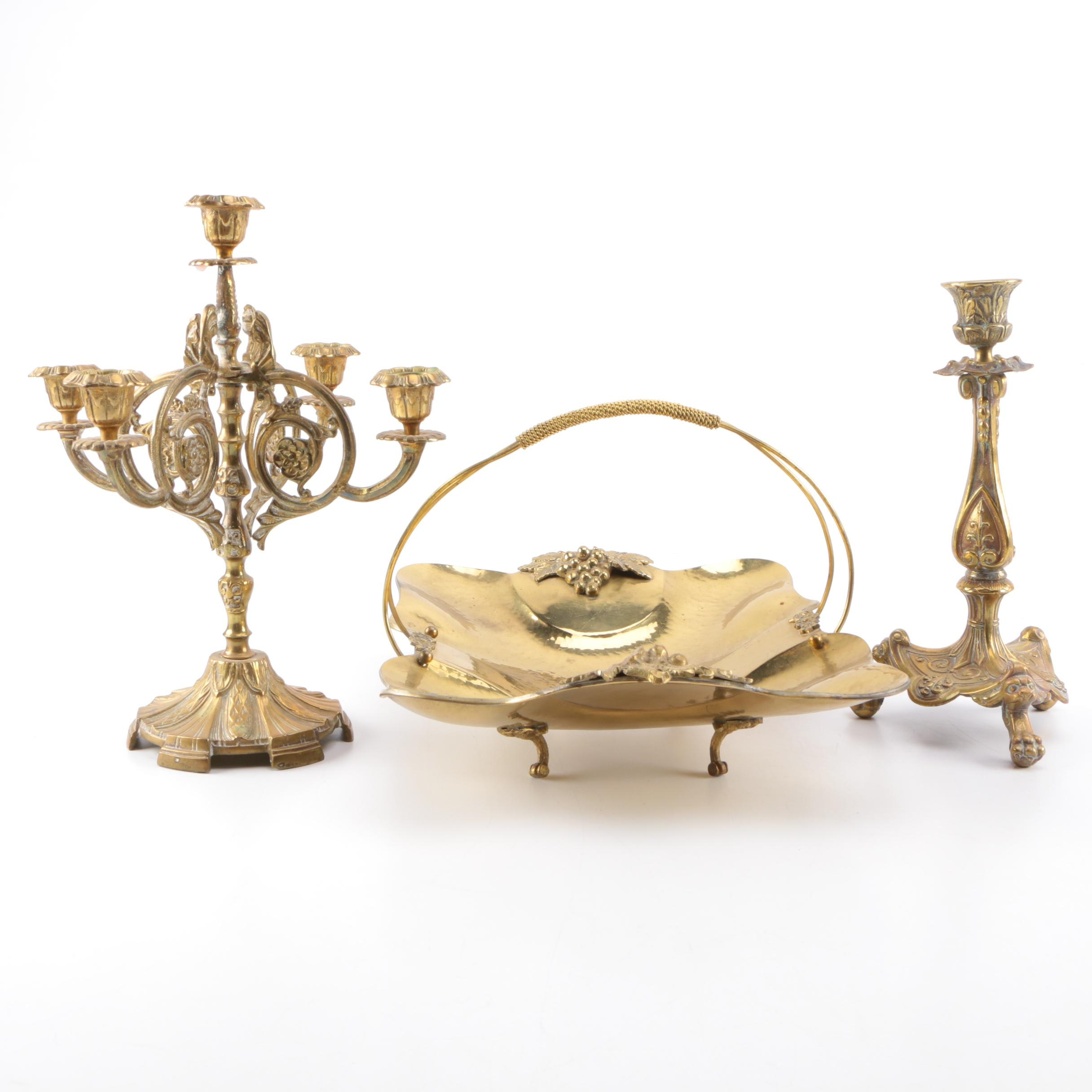 Brass Bride's Basket & Candle Holders