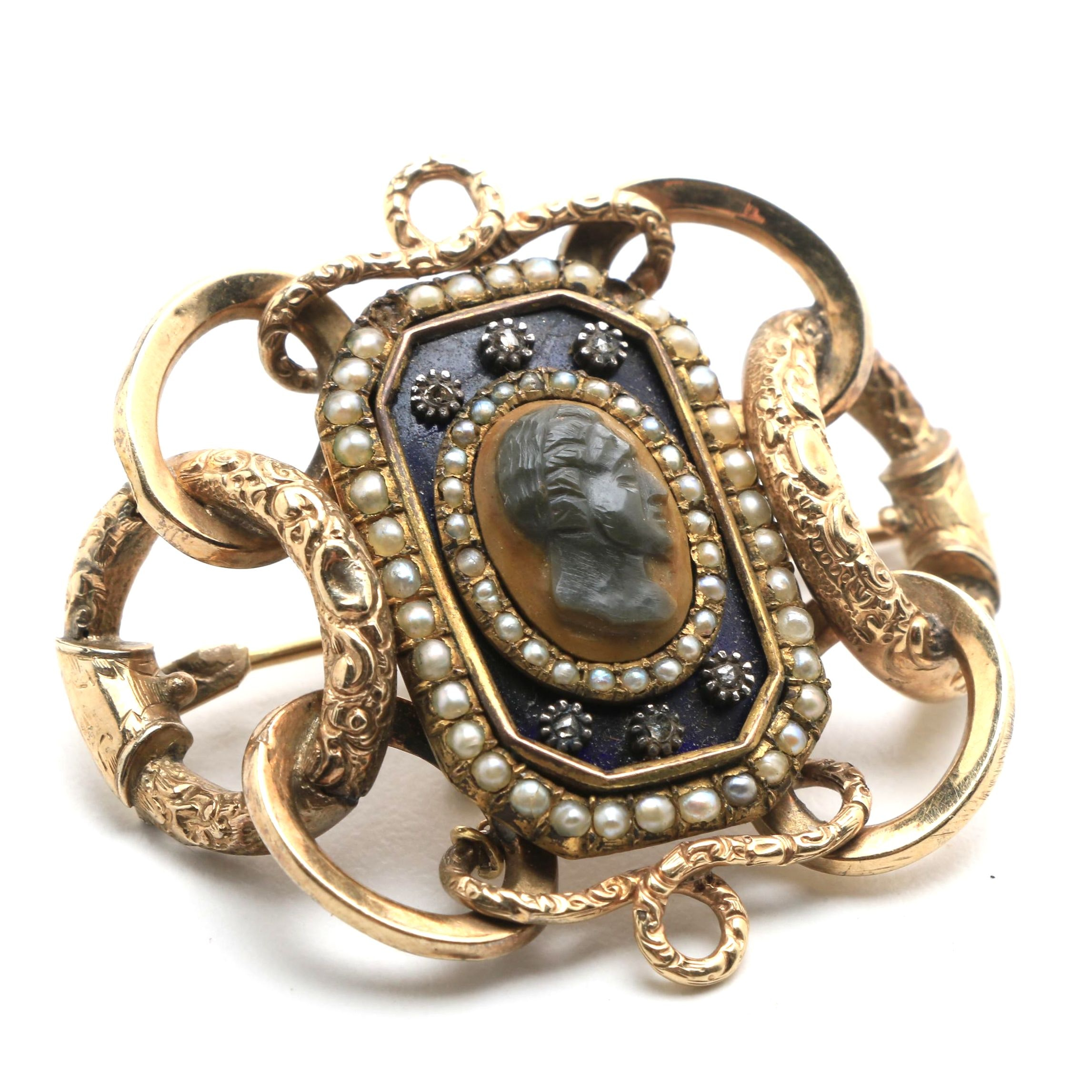 Early Victorian Sardonyx, Diamond and Seed Pearl 10K Gold Filled Cameo Brooch
