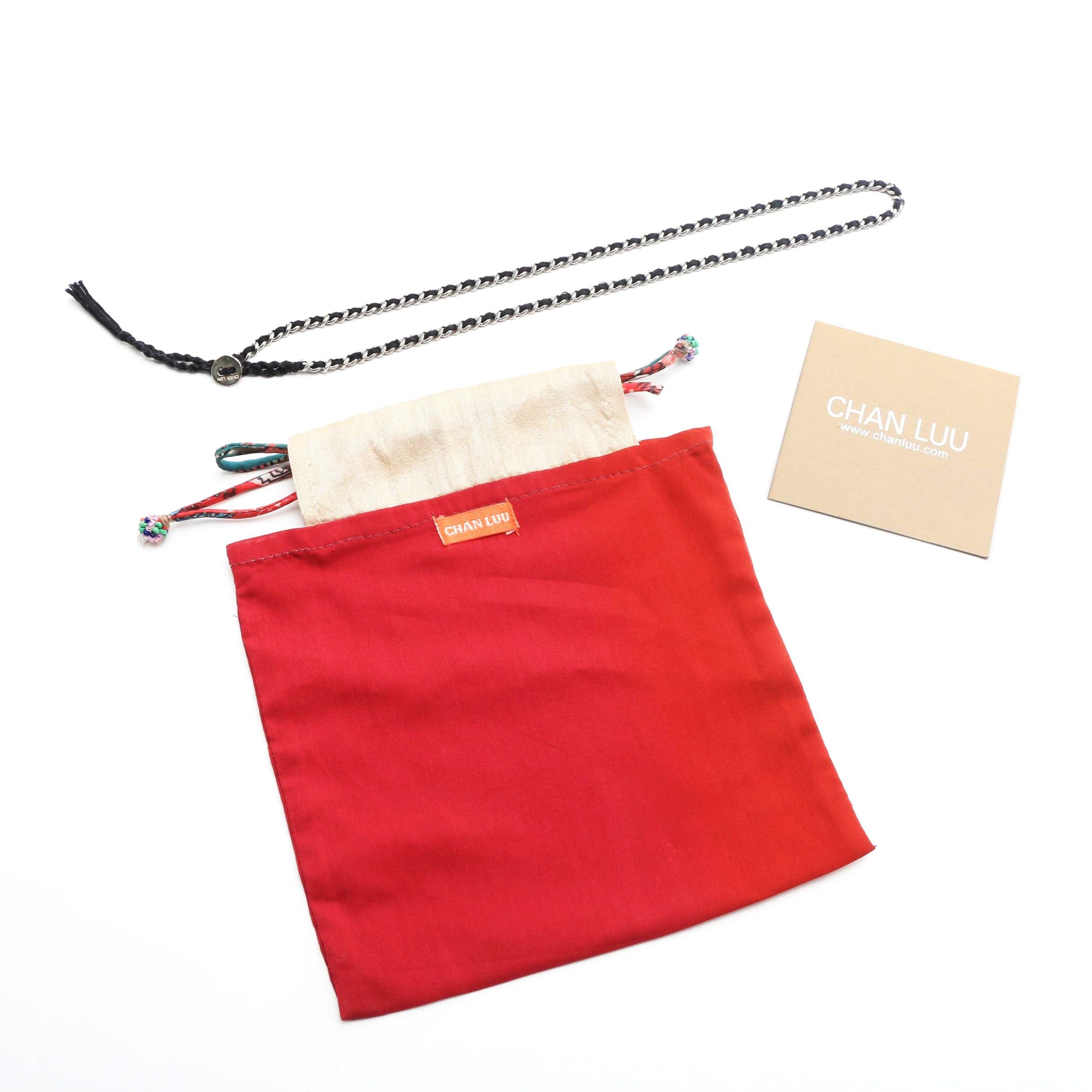 Chan Luu Wrap Bracelet in Black Braided Cord with Metal Chain
