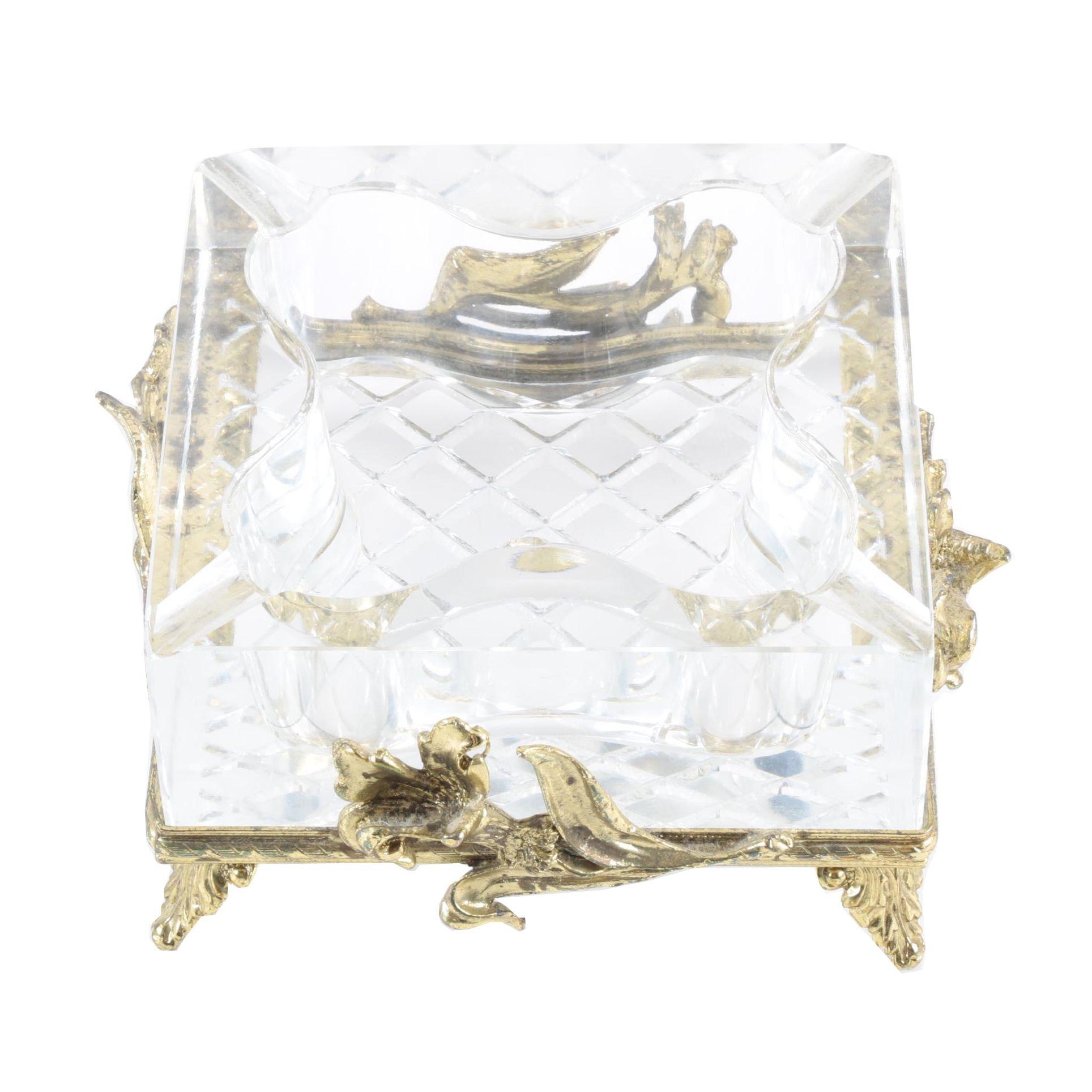 Art Nouveau Style  Crystal Ash Receiver