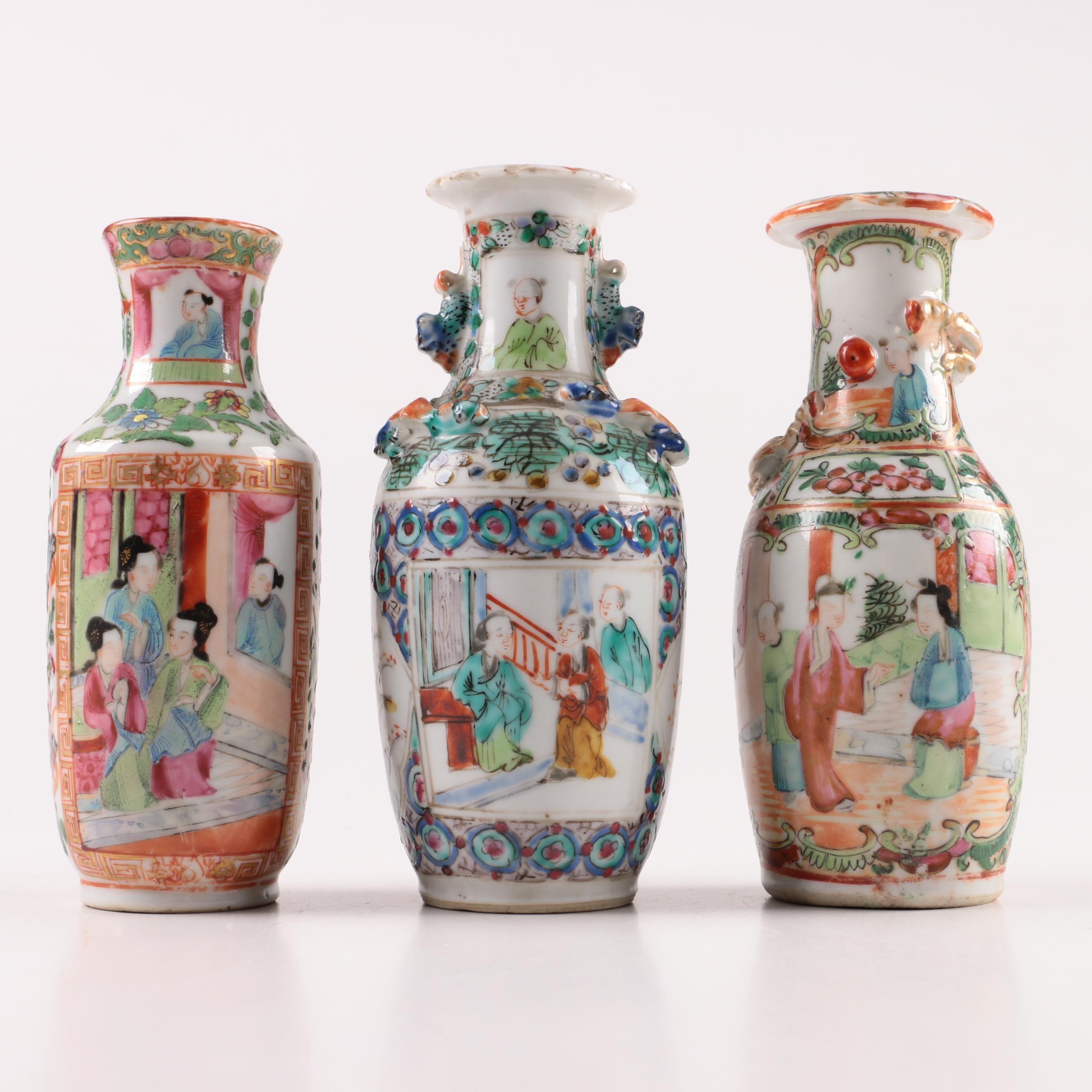 Chinese Style Rose Medallion Porcelain Vases