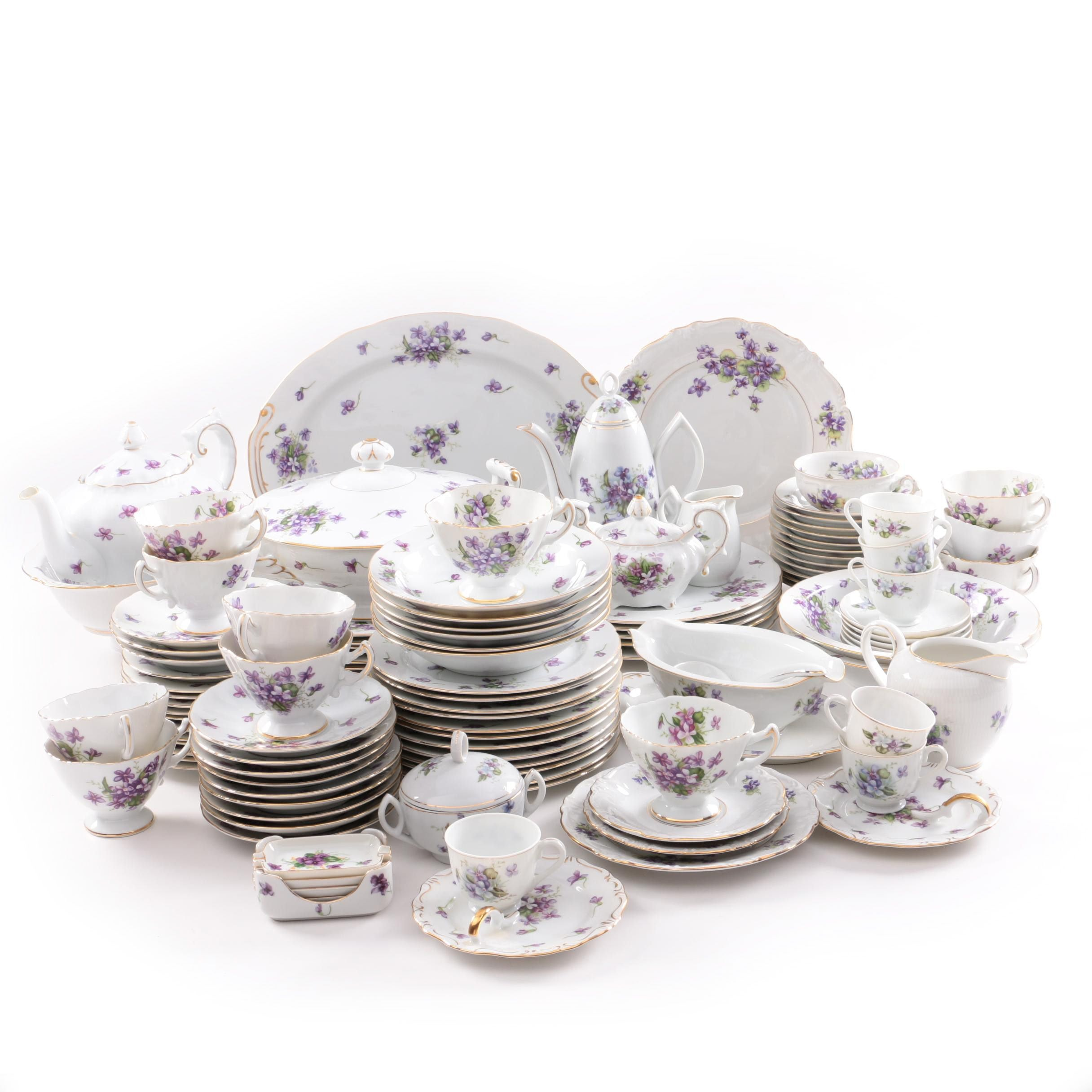 """Hand Painted  """"Spring Violets""""  Rosetti China Service"""