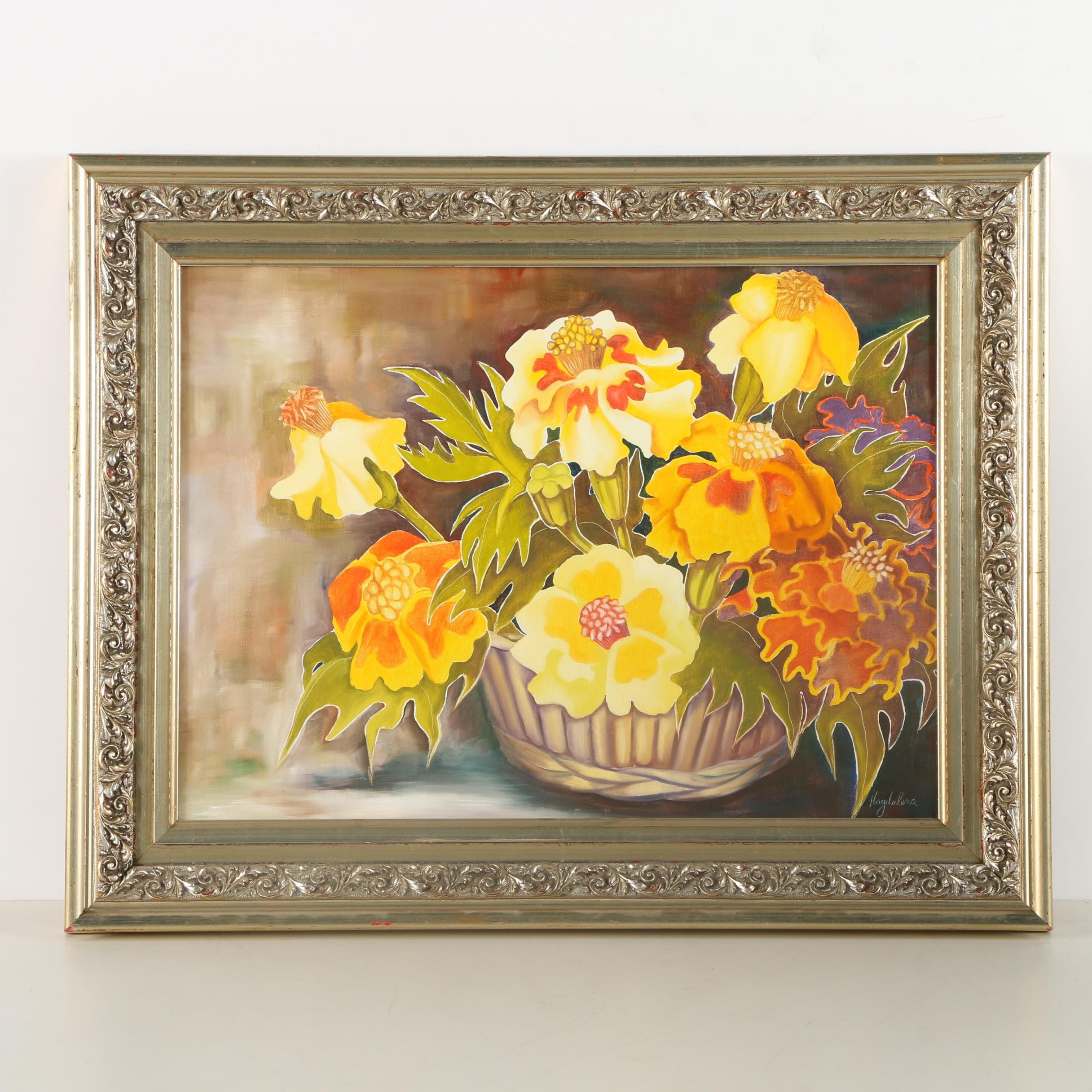 Magdalena Oil Painting on Canvas of Floral Still Life