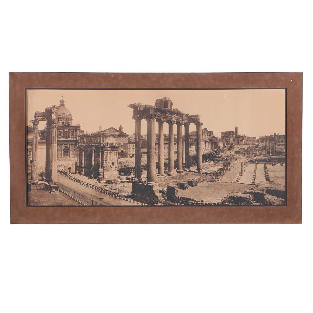 "Circa 1885 Giacomo Brogi Panoramic Carbon Print ""The Forum Temple Ruins, Rome"""