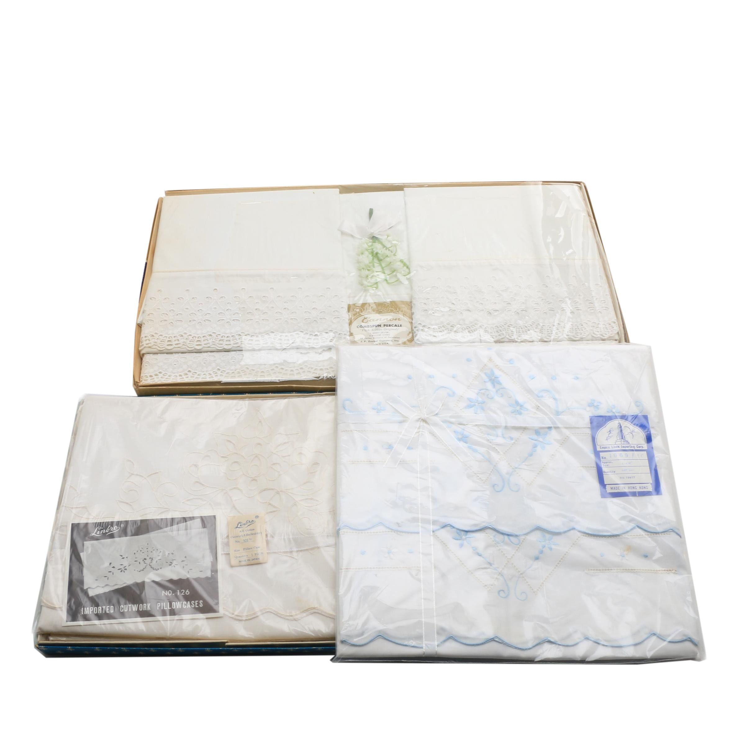 Unopened Linen Pillow Cases and a Cannon Sheet and Pillow Case Set