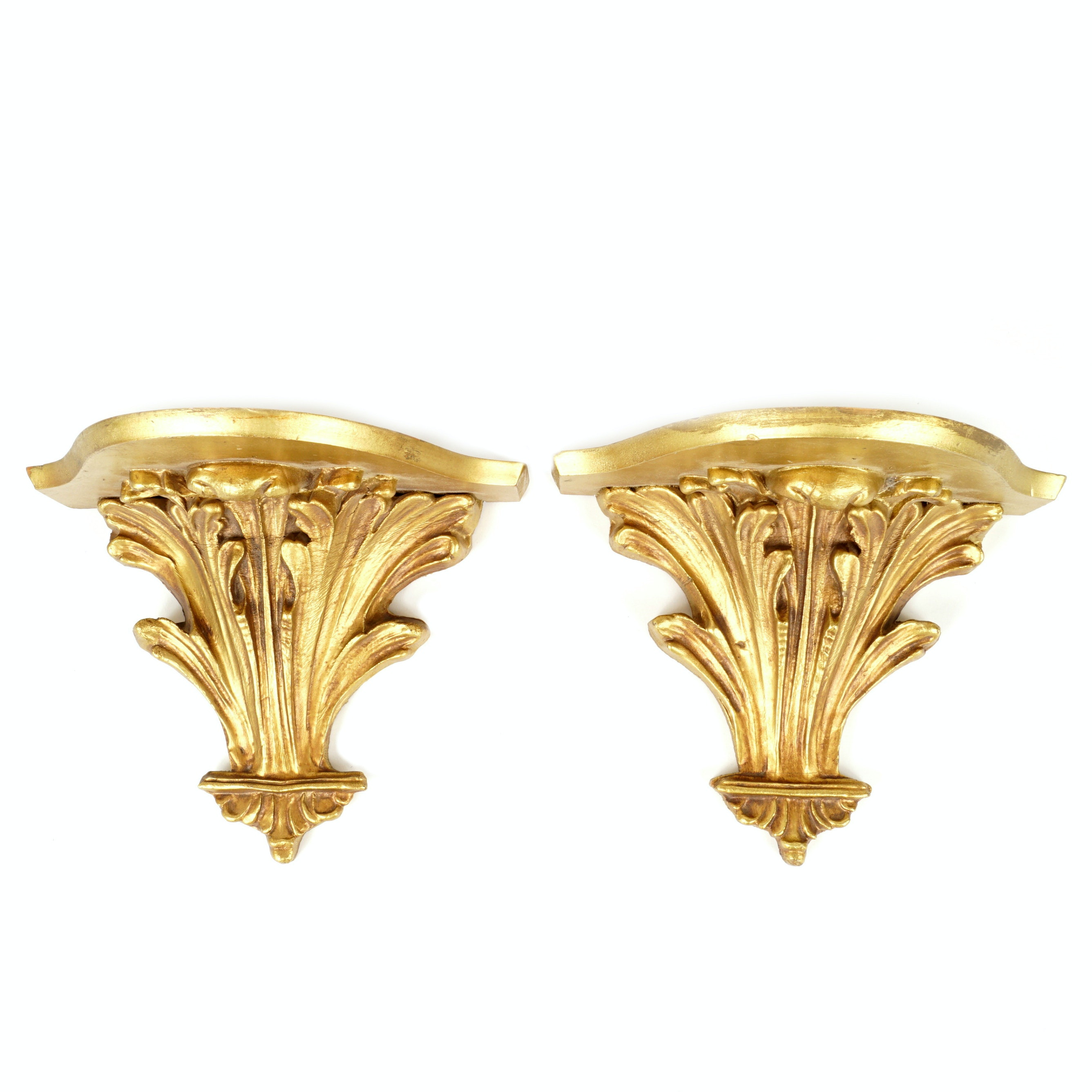 Pair of Neoclassical Style Giltwood Wall Shelves