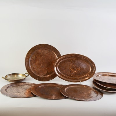 Copper Chargers/Plates and Brass Warmer