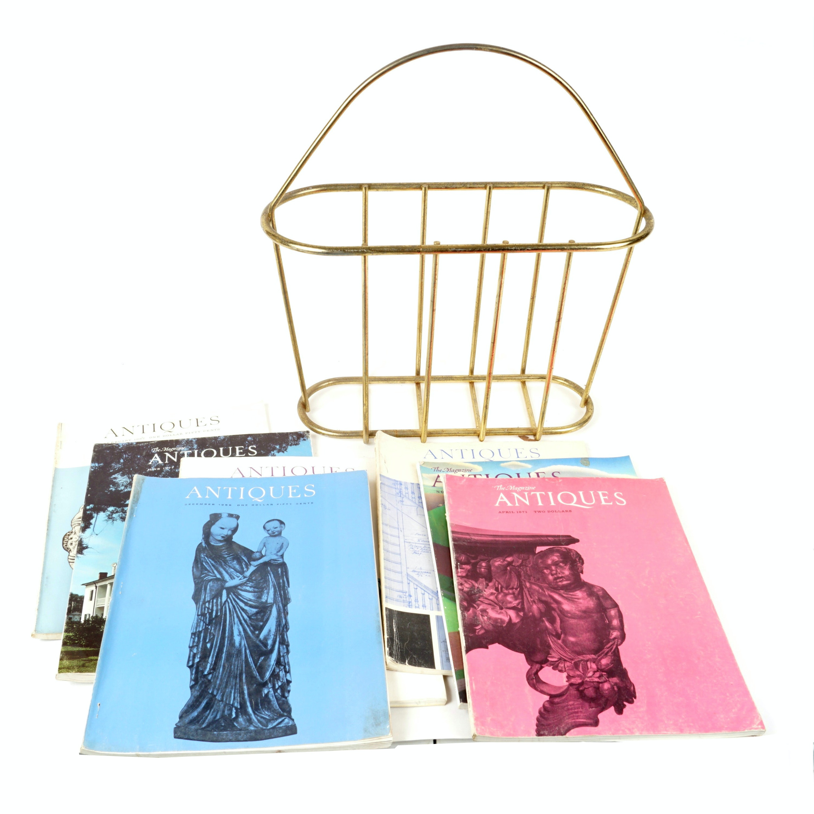 """""""Antiques"""" Vintage Magazines with Metal Stand"""