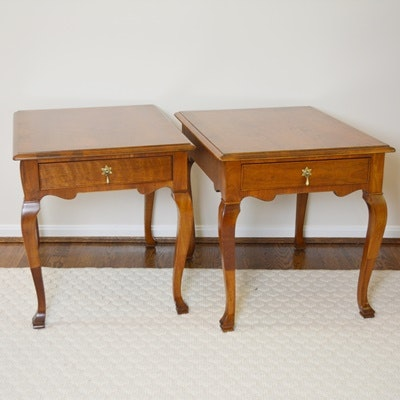 Two Henredon Cherry Stained Side Tables