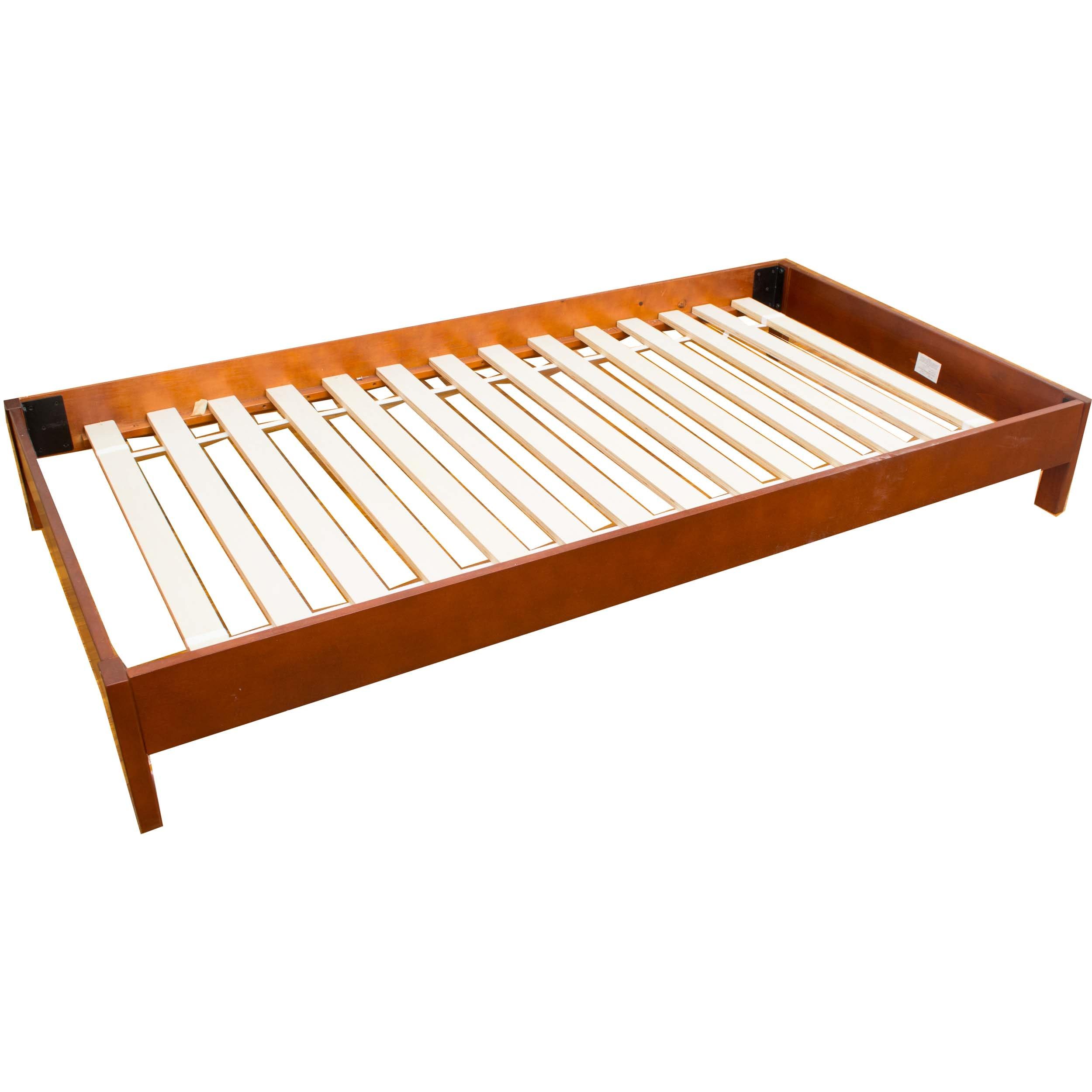 Platform Twin Bed with Mahogany Finish