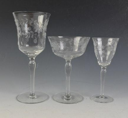 Vintage Crystal Etched Floral Stemware