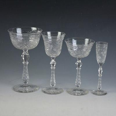 Vintage Etched Crystal Stemware
