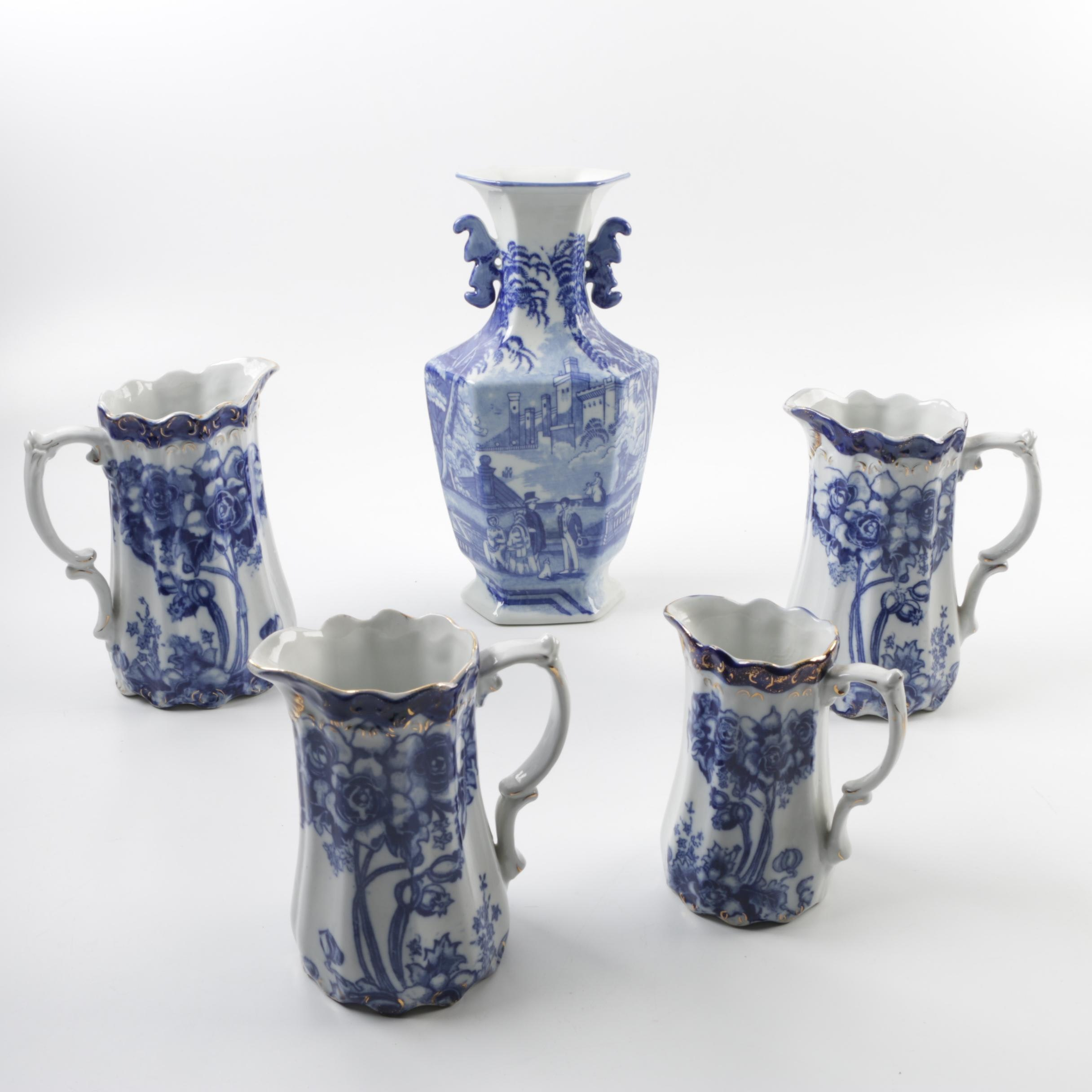 Victoria Ironstone Flow Blue Pitchers and Urn