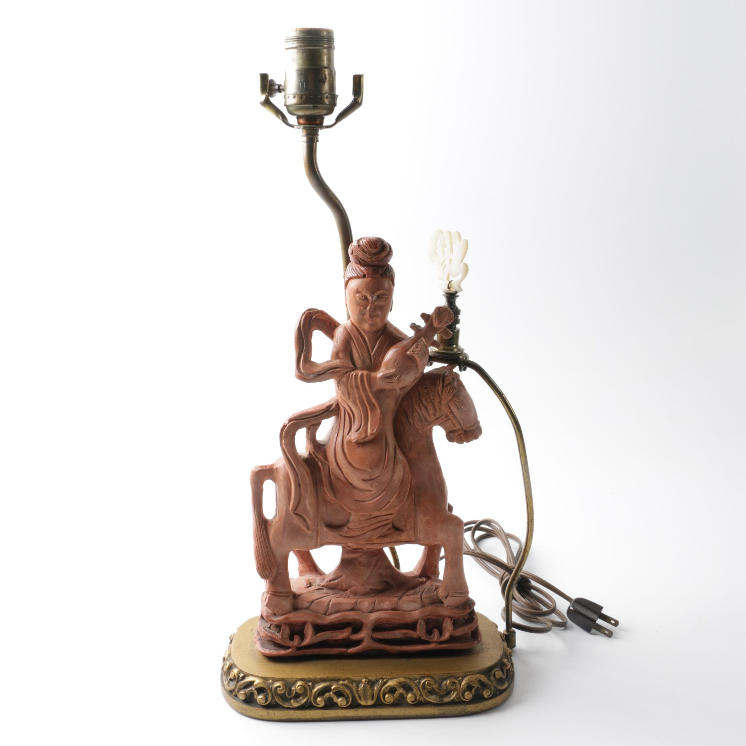 Art Nouveau Figural  Asian Woman Lamp