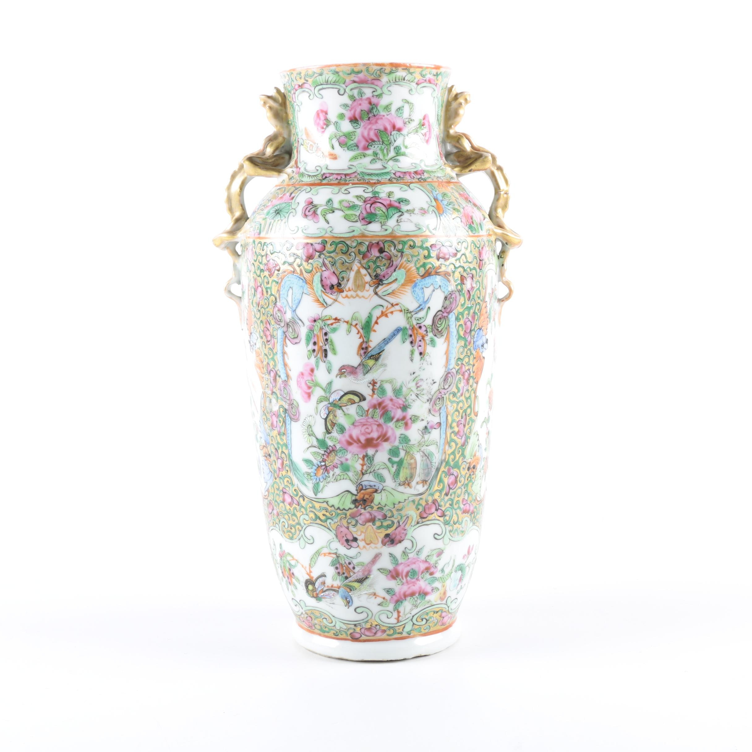 East Asian Style Hand-Painted Porcelain Vase