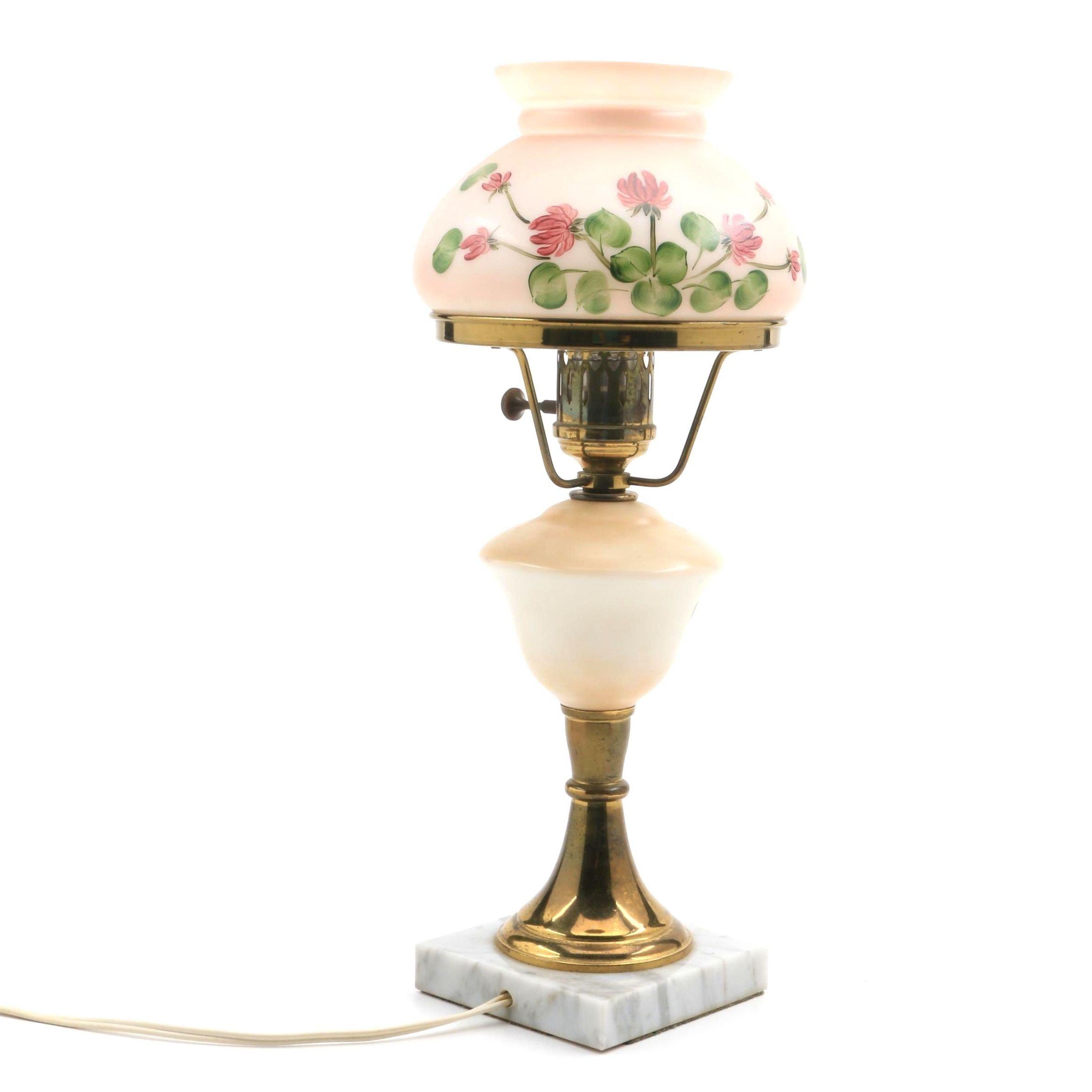 Vintage Hand Painted Boudoir Lamp
