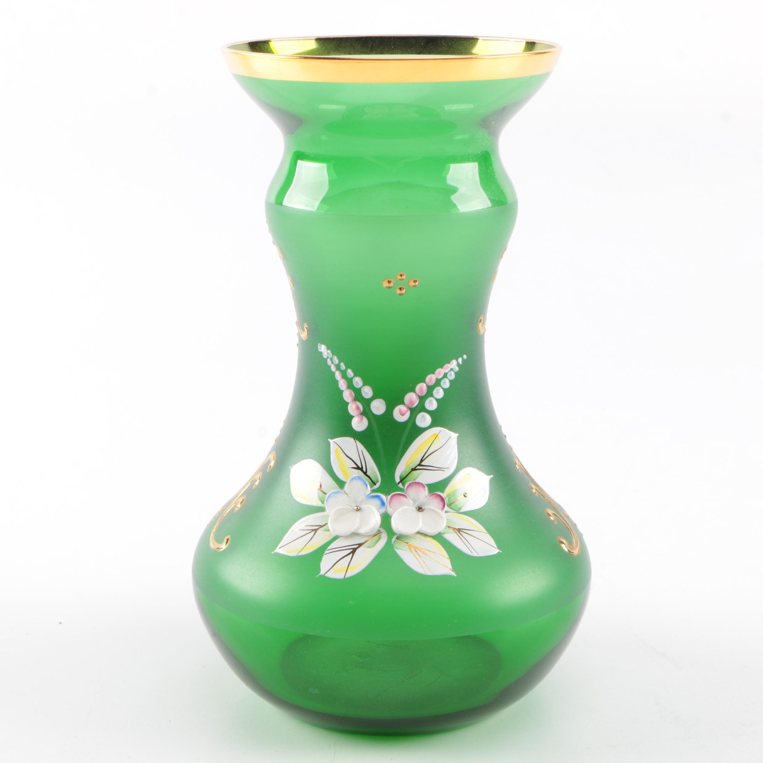 Hand-Painted Crystal Vase