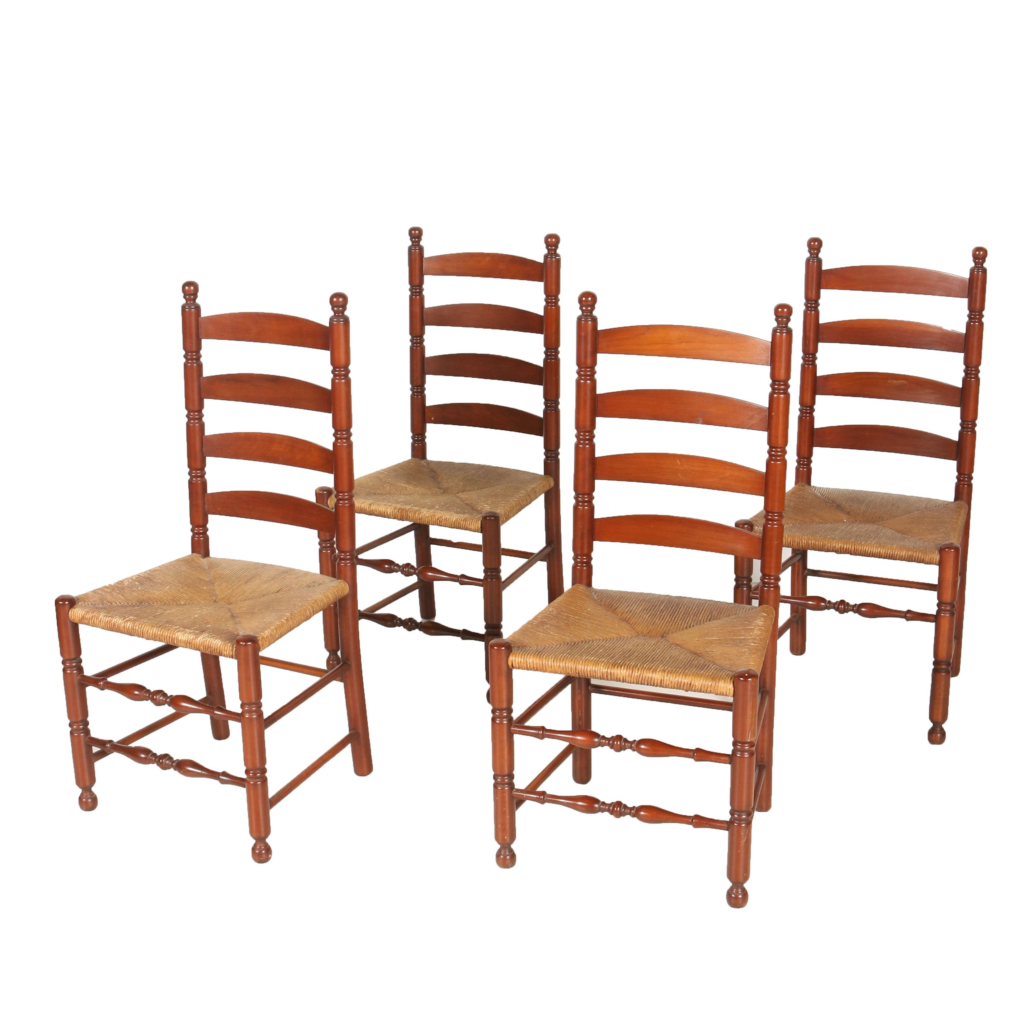 Four Cherry Ladder Back Chairs