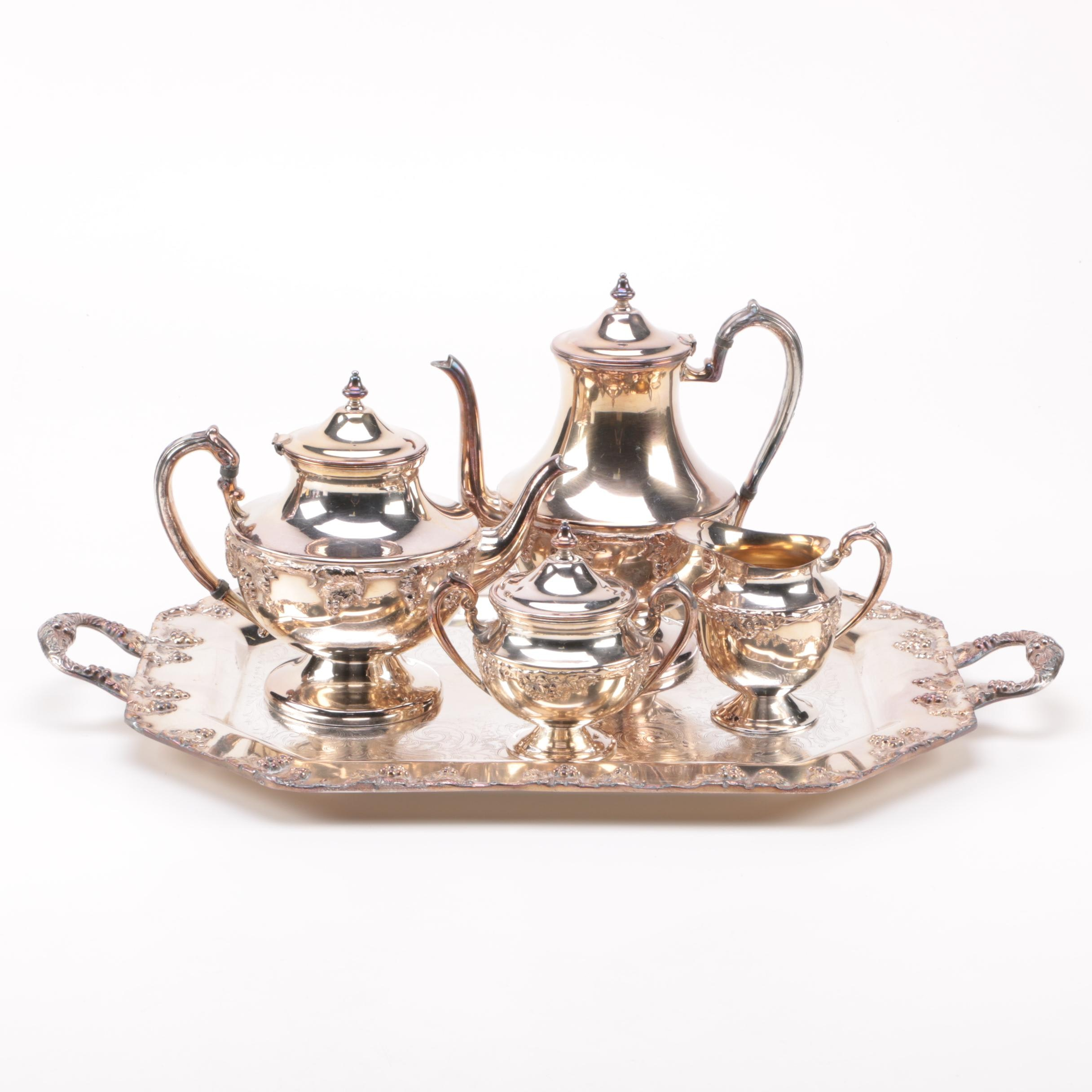 Lehman Brothers Silver Plate Grape Motif Tea Service