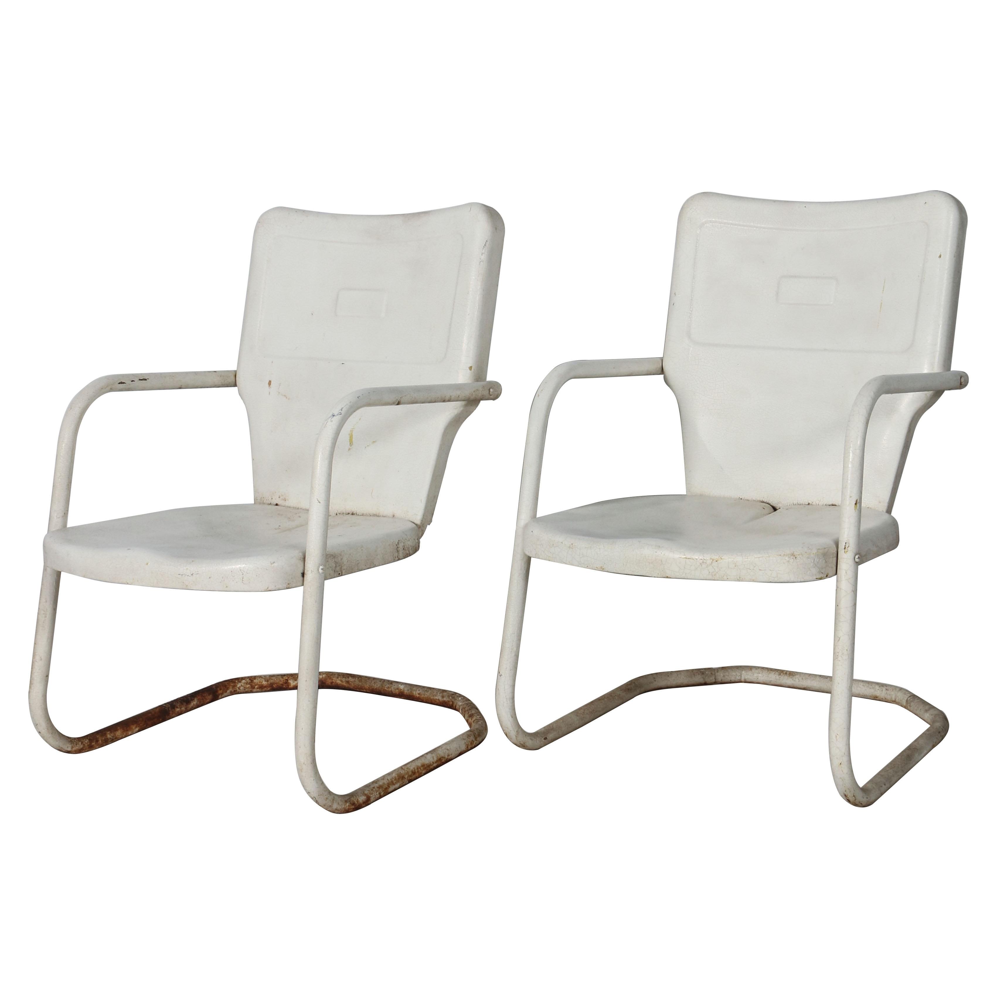 Pair Of Vintage Metal Patio Chairs