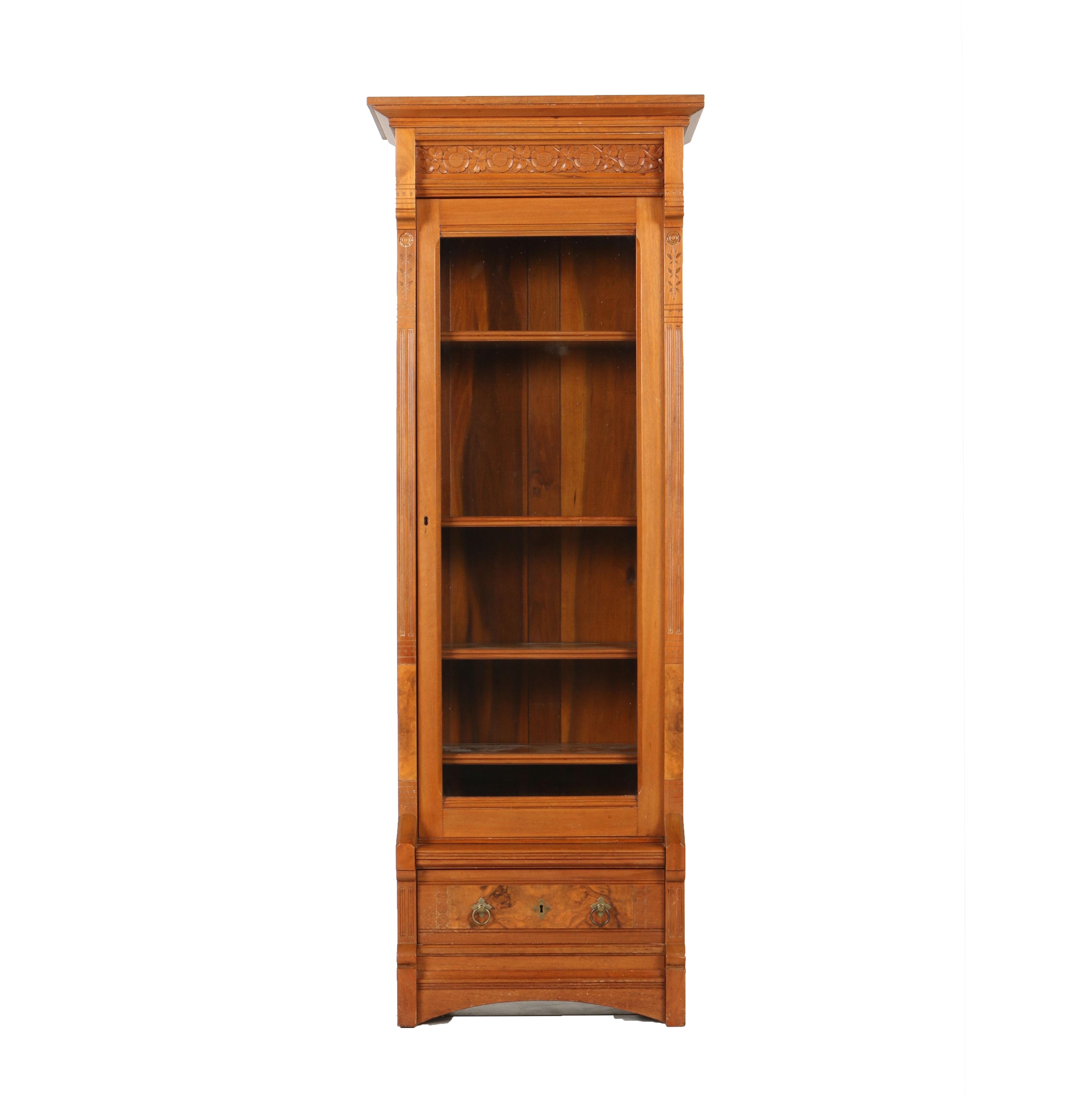 Victorian Eastlake Walnut Glass Front Bookcase