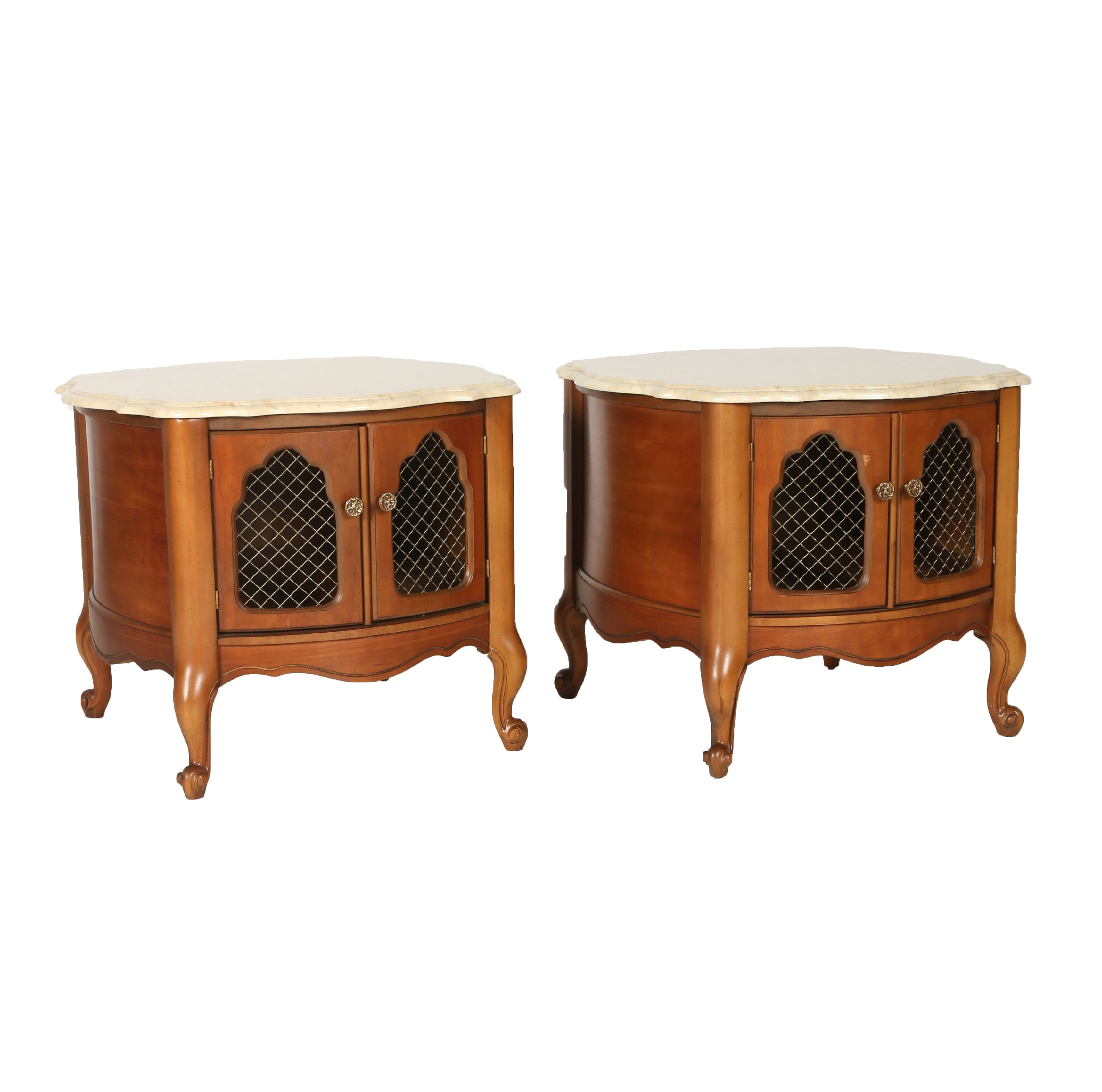 Pair Of Vintage French Provincial Marble Top End Tables