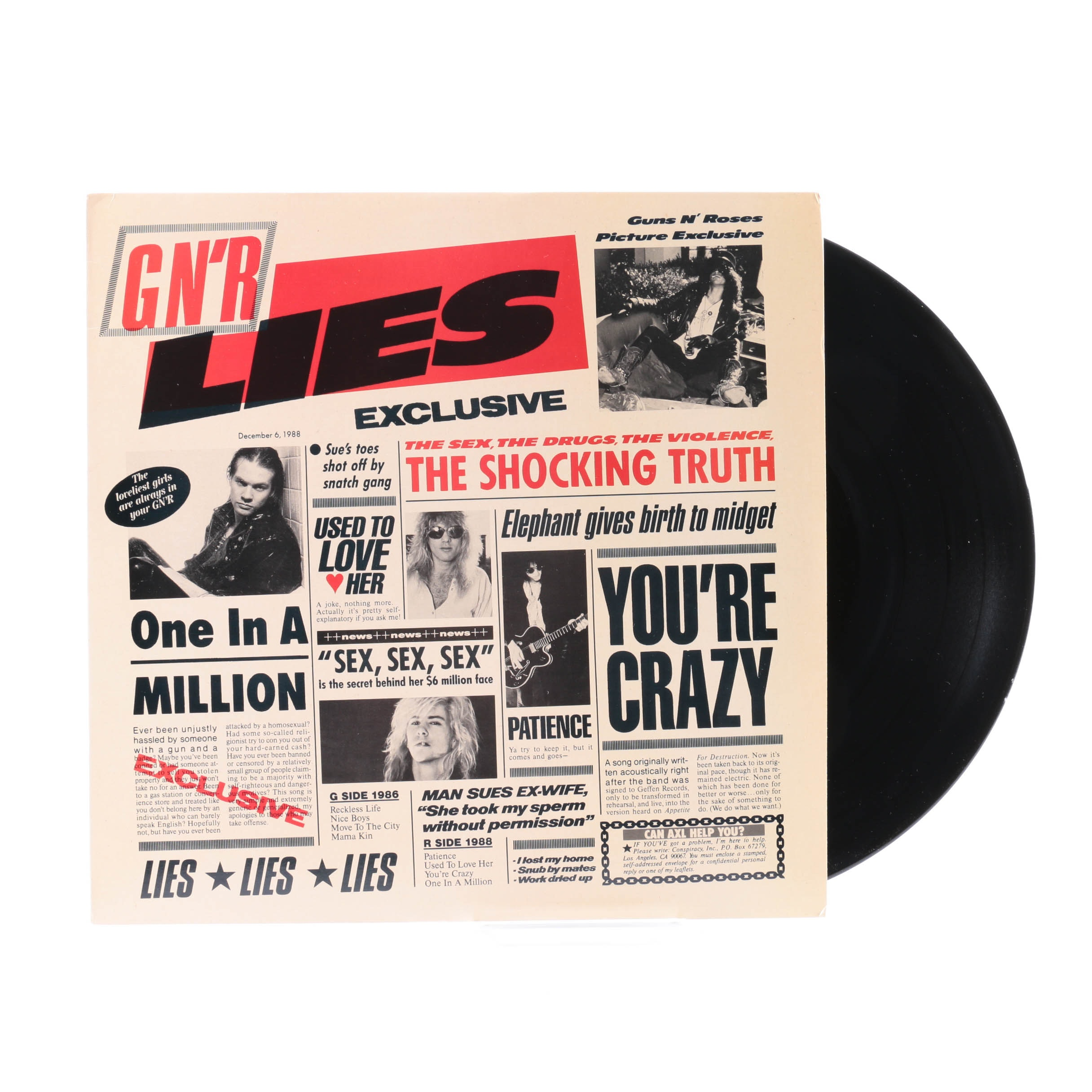 "Guns N Roses ""G N'R Lies"" Club Edition Pressing LP"
