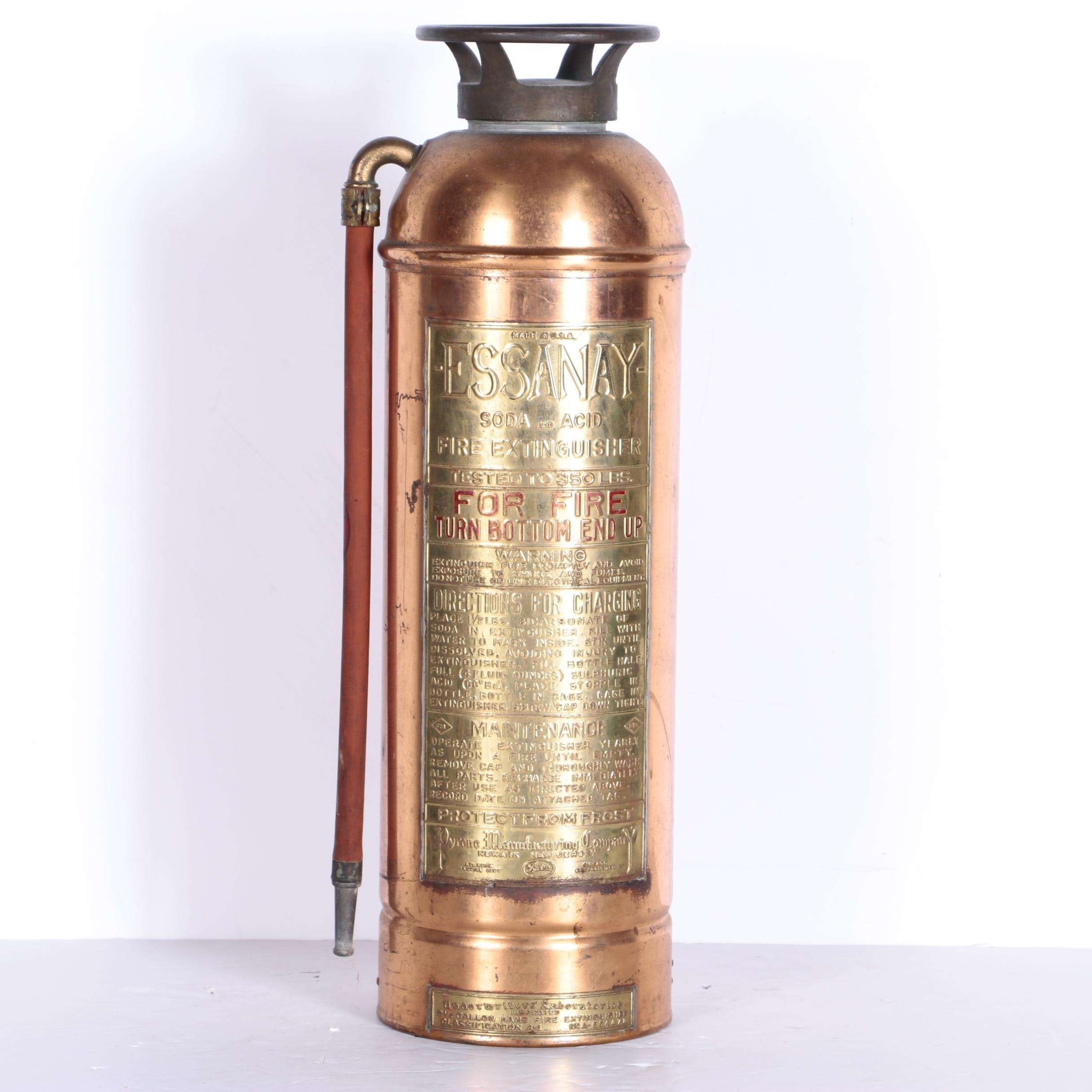 Vintage Essanay Copper And Brass Soda And Acid Fire Extinguisher