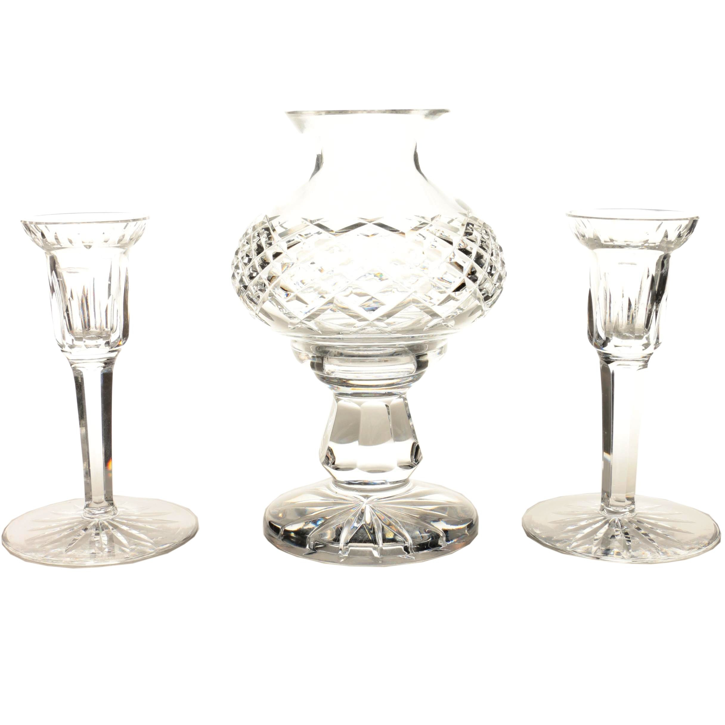 Waterford Crystal Hurricane Lamp and Candle Holders