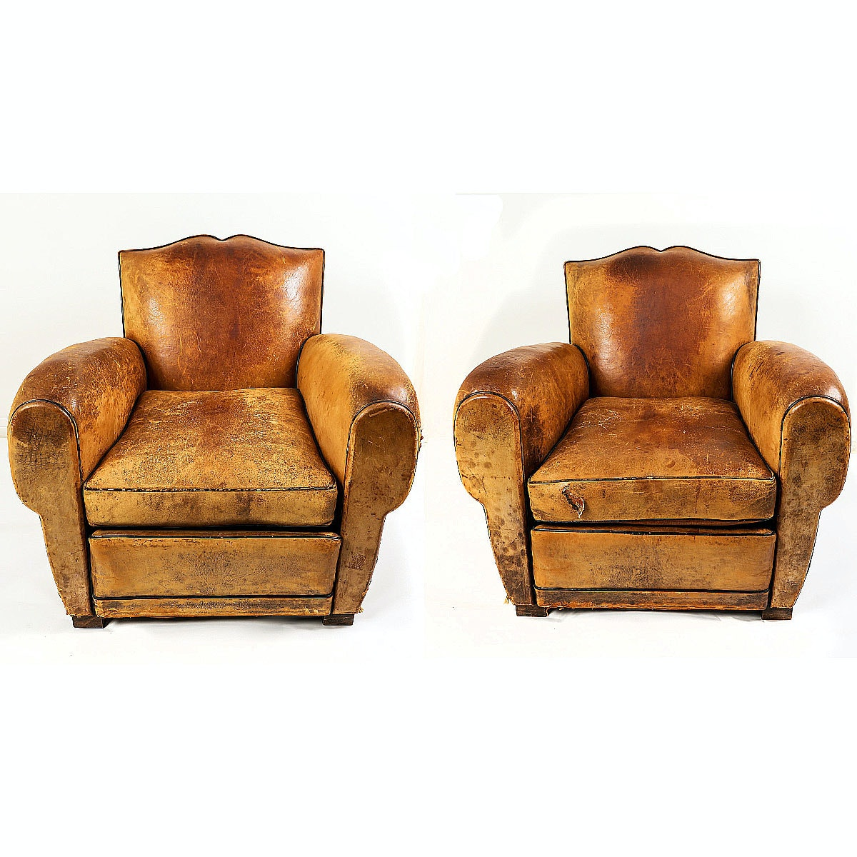 Pair of Antique British Leather Armchairs