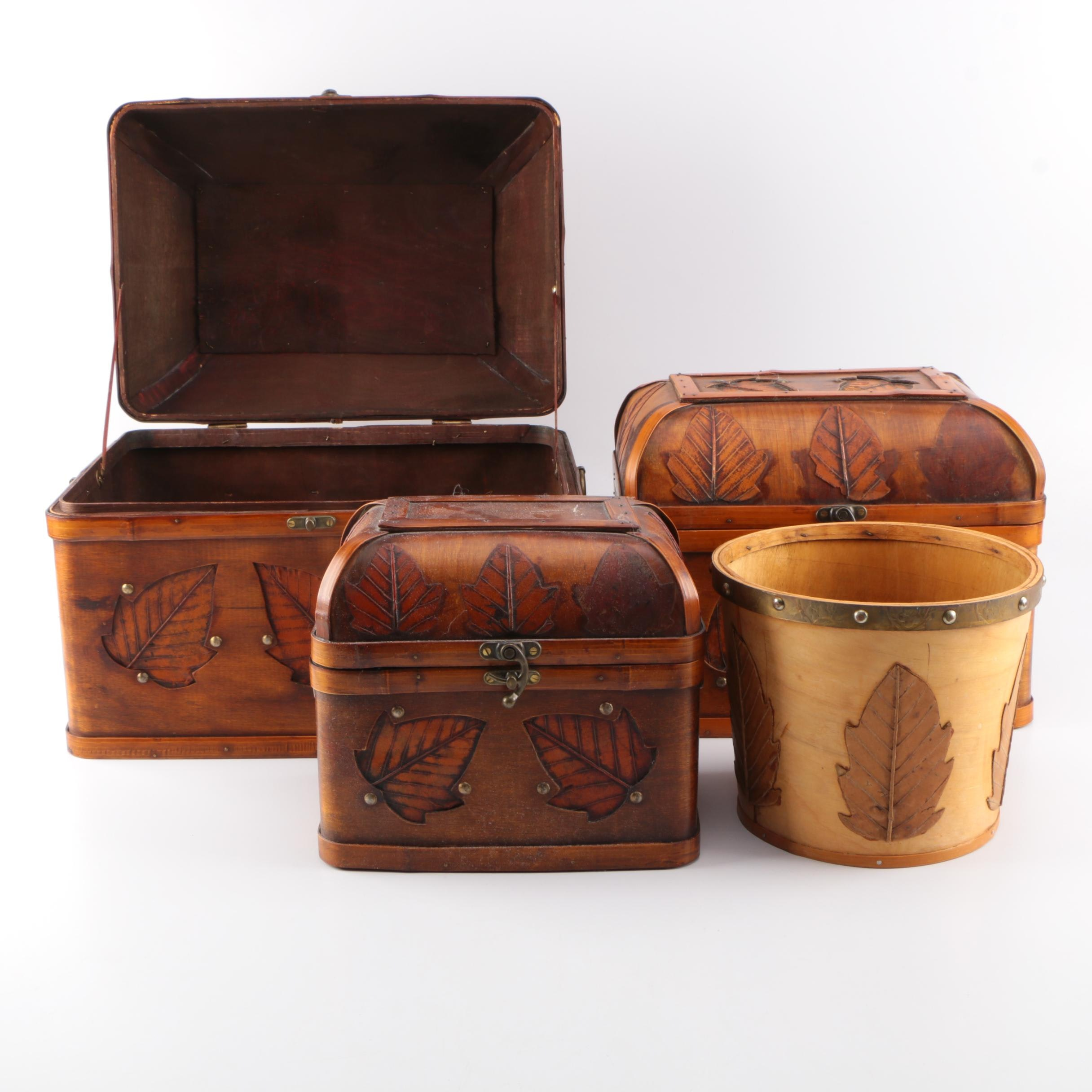 Set of Decorative Nesting Boxes and a Container
