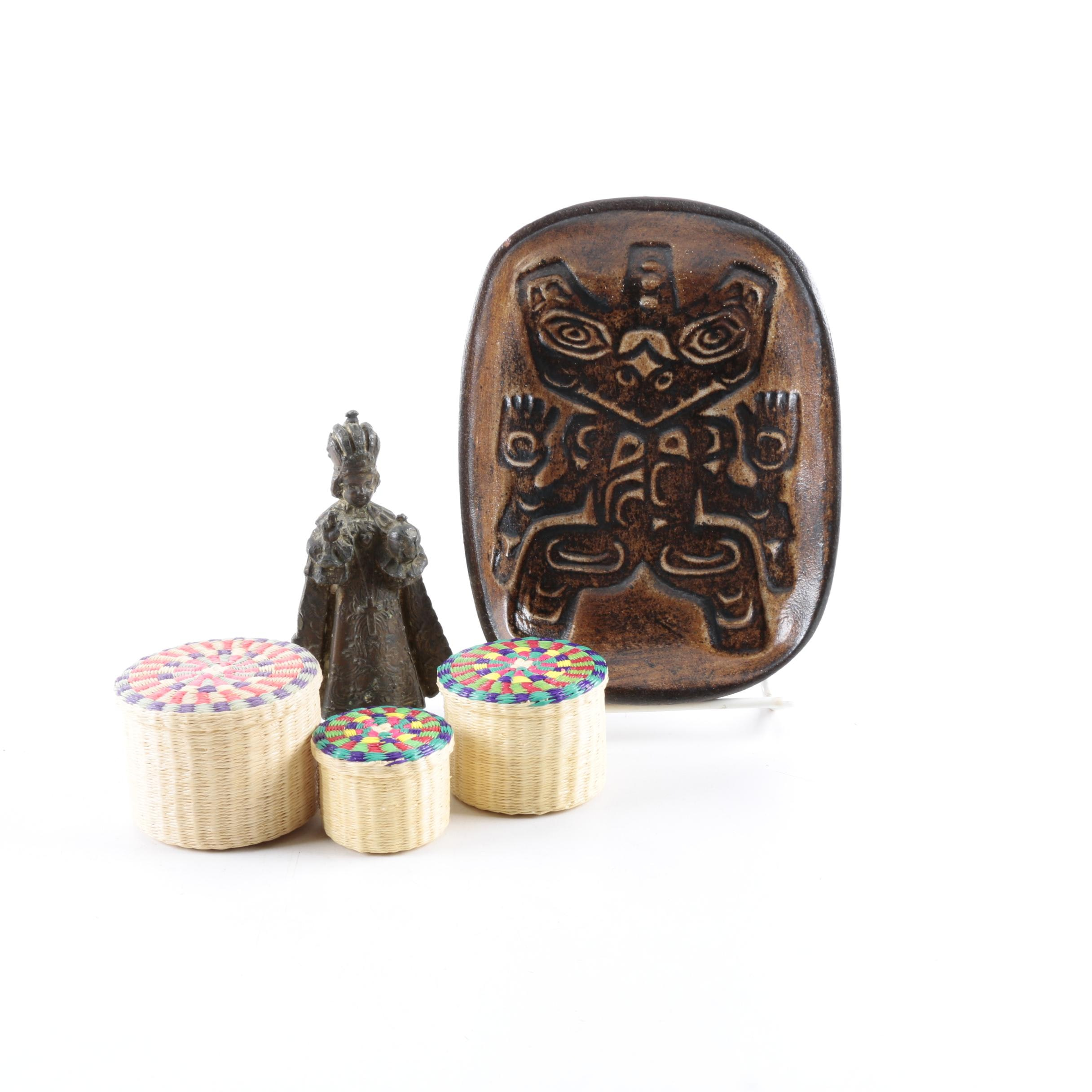 Infant Jesus Of Prague Figurine, Haida Bear Dish, And Small Woven Trinket Boxes