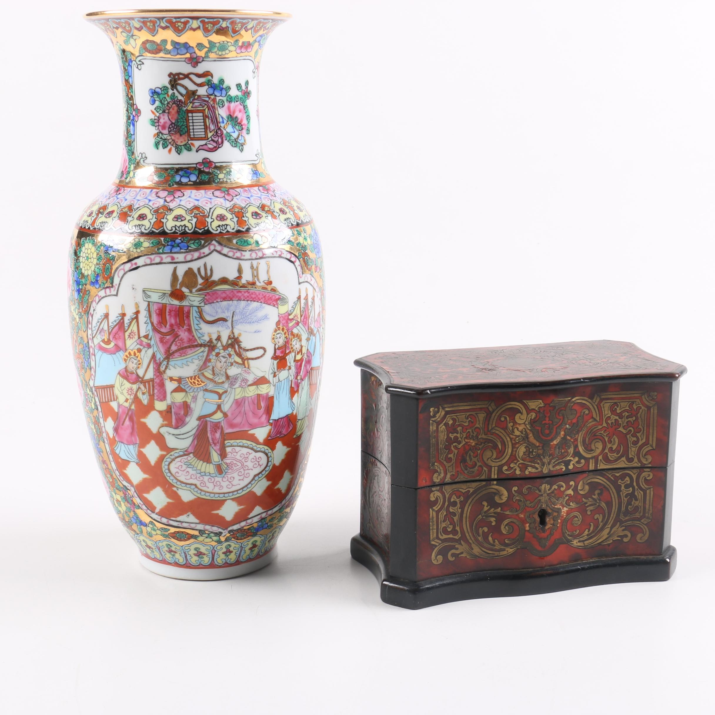 Chinese Porcelain Vase And Perfume Box