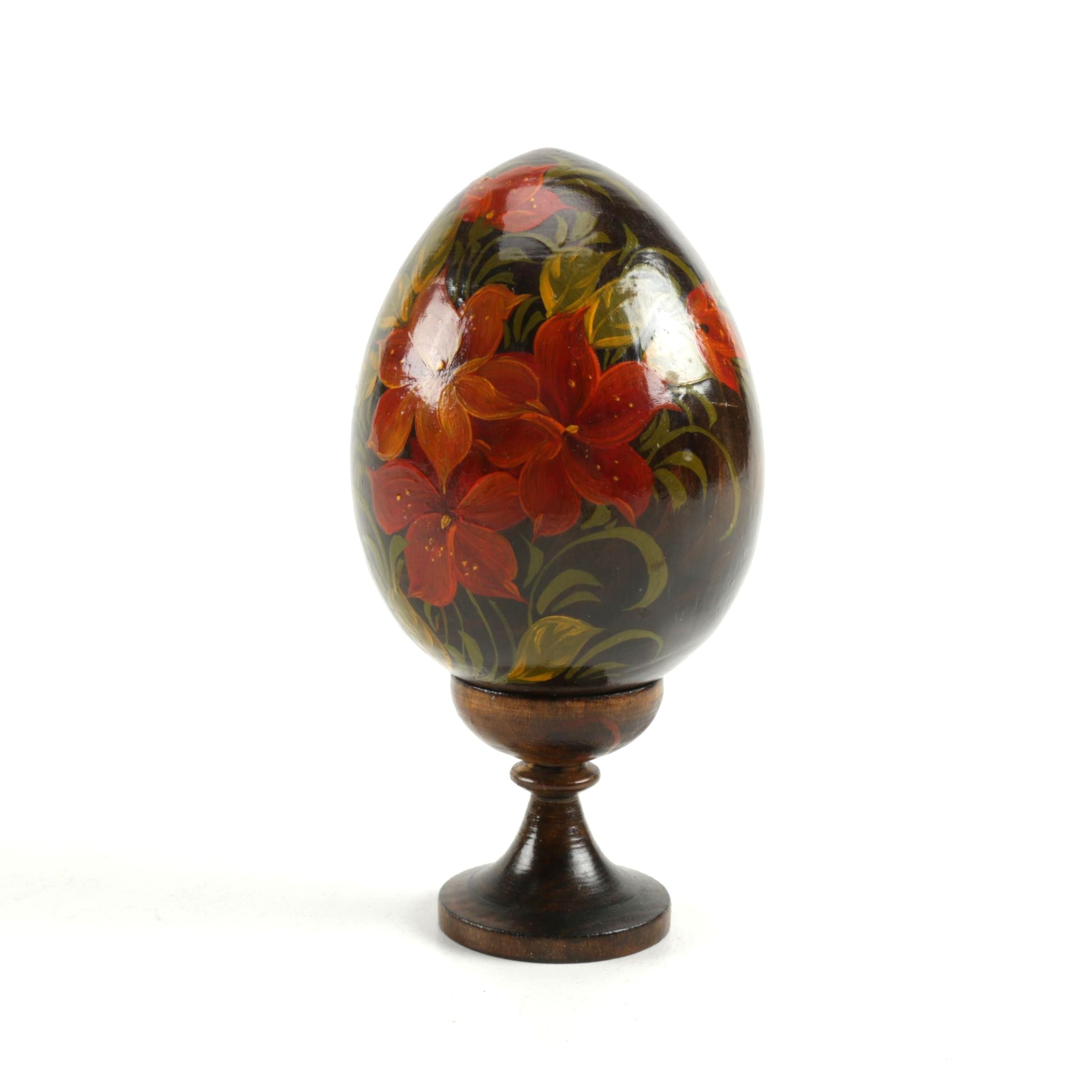 Floral Wooden Egg with Stand