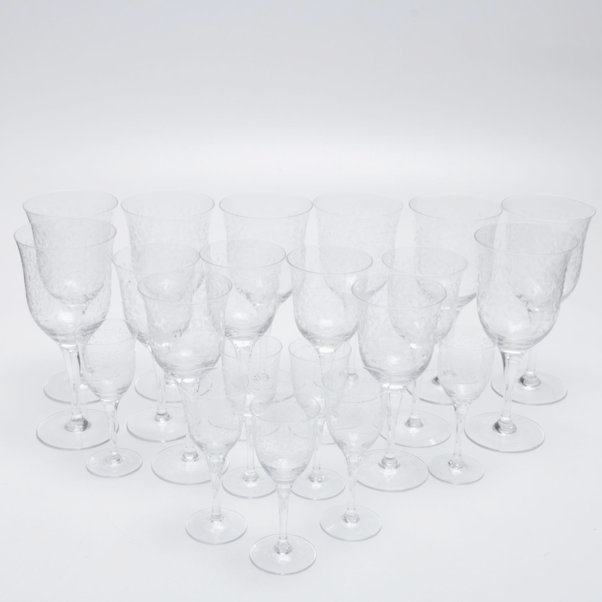 Collection of Etched Glass Stemware