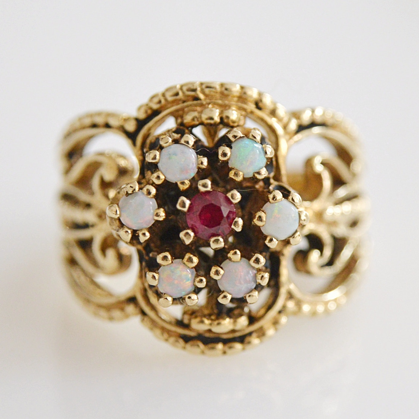 14K Gold, Ruby and Opal Ring