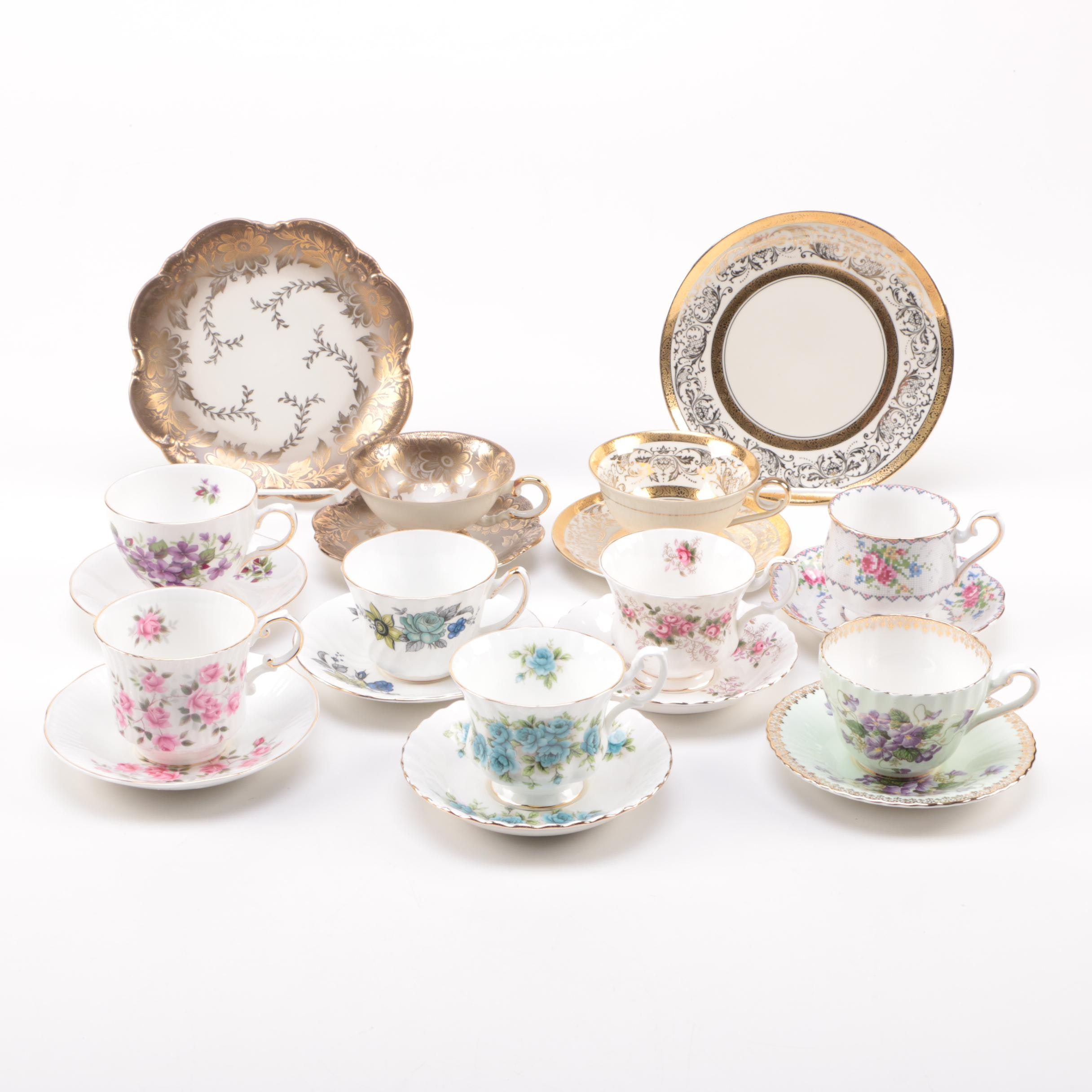 Assortment of Ceramic Floral Teacups and Saucers