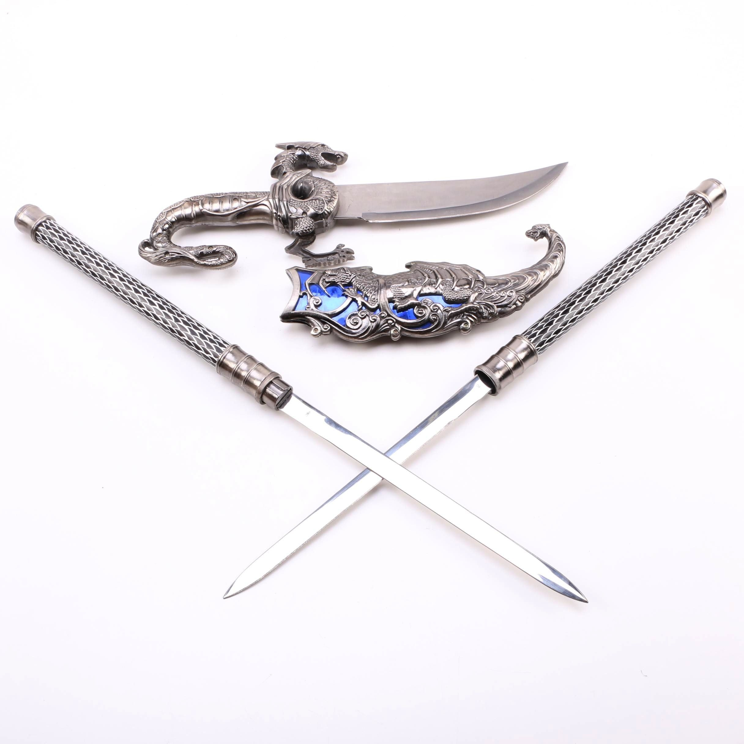 Dragon Themed Dagger and Pair of Matching Daggers