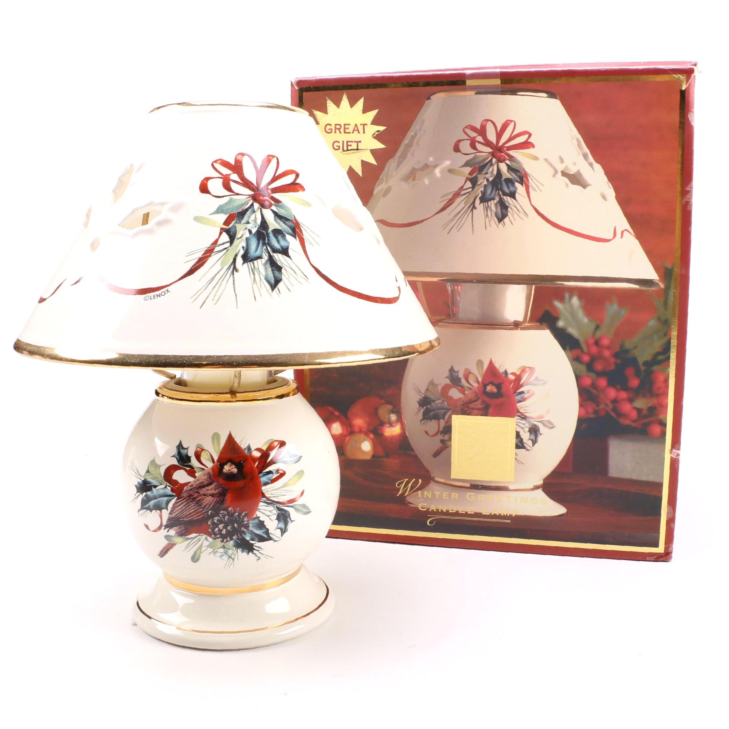 """Lenox """"Winter Greetings"""" Porcelain Candle Lamp"""