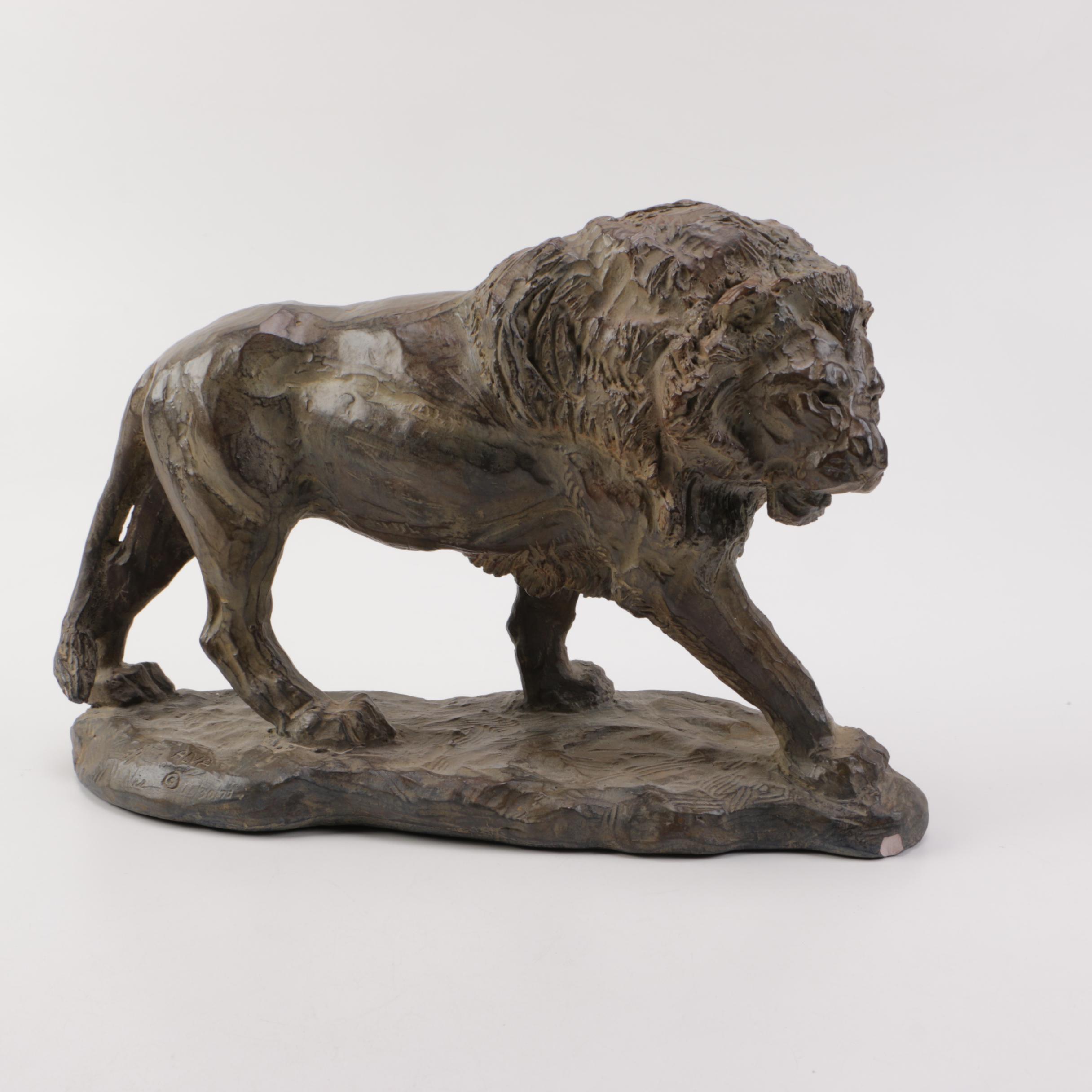 Cast Resin Lion Sculpture