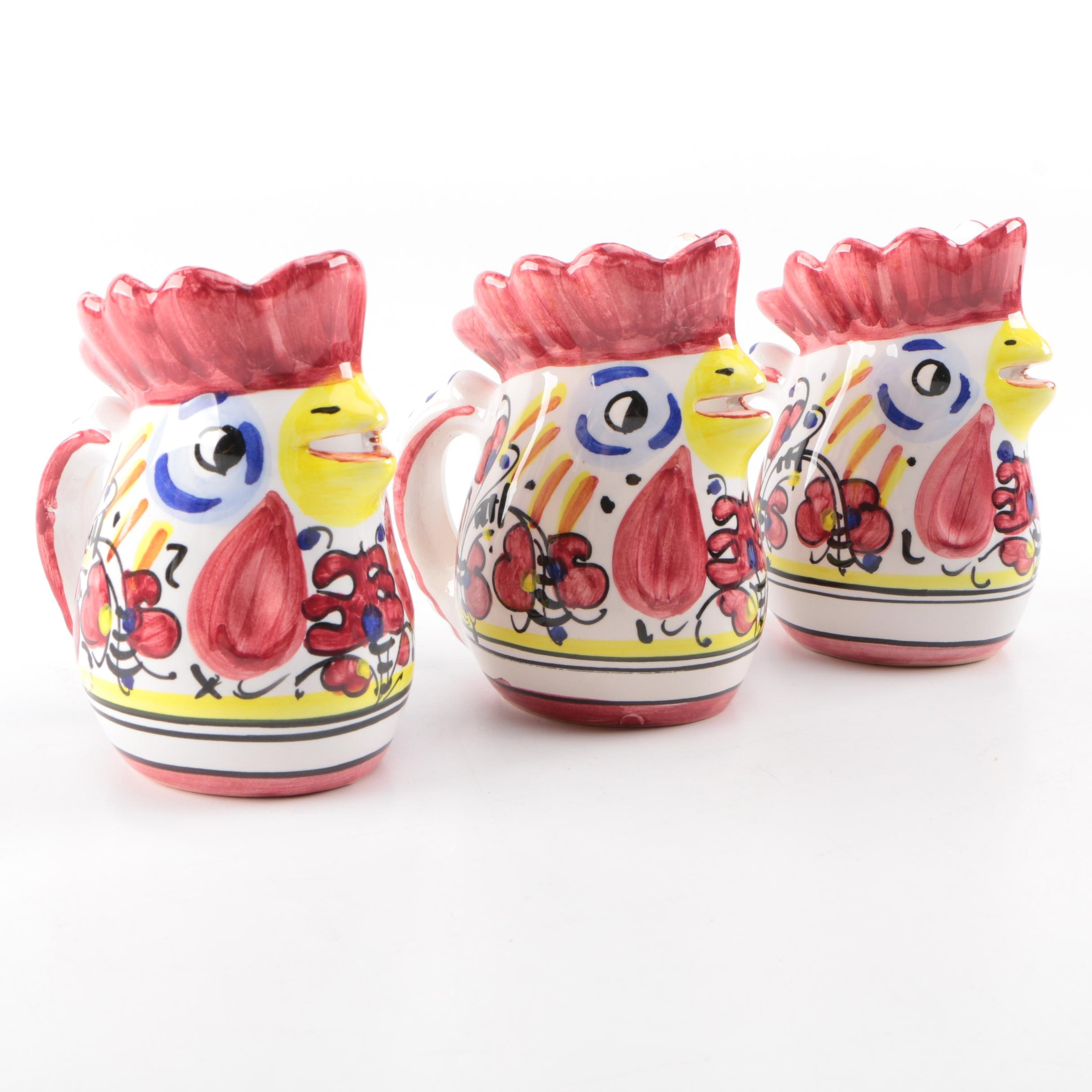 Italian Ceramic Rooster Themed Creamers