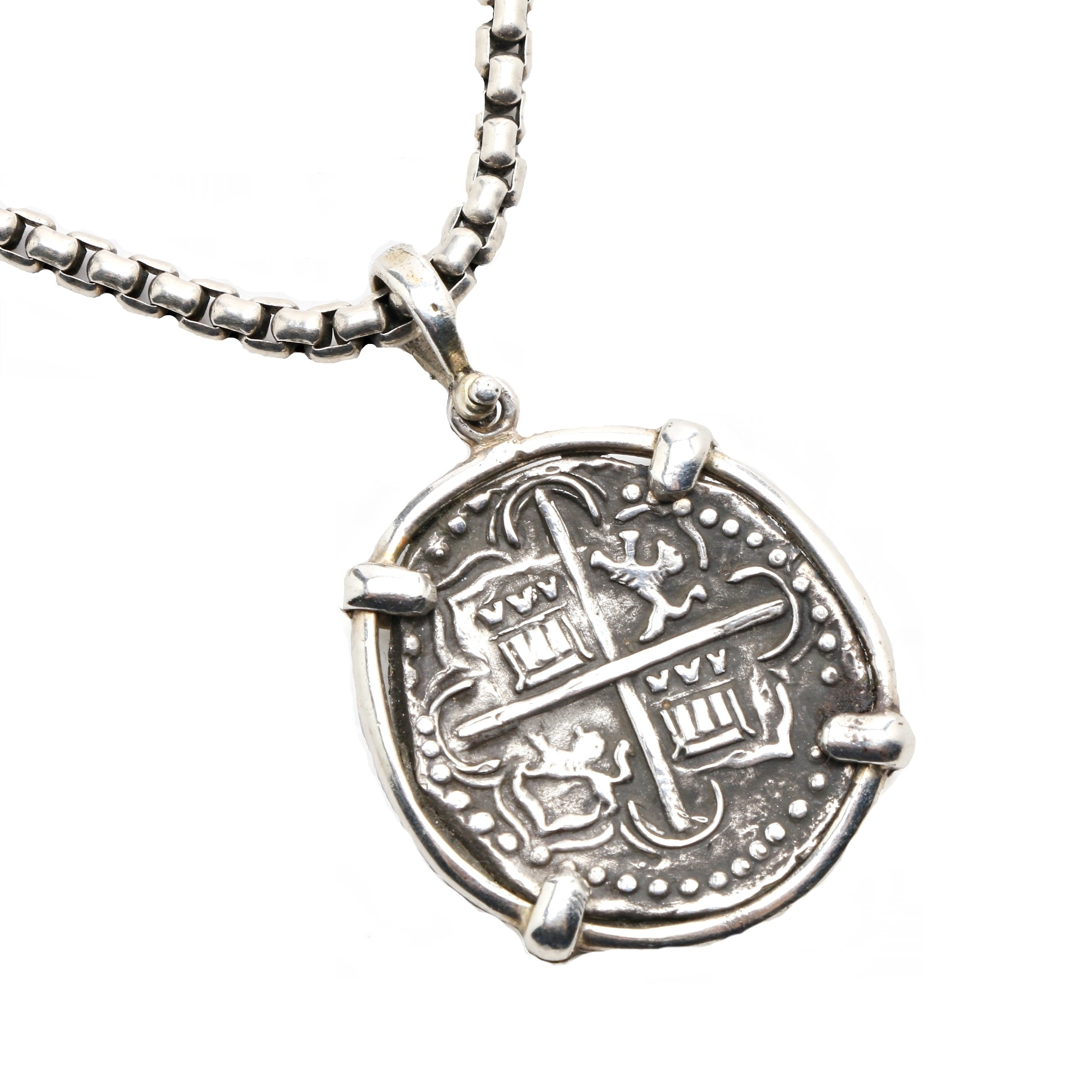 Sterling Silver Spanish Colonial Replica Coin on David Yurman Box Link Necklace