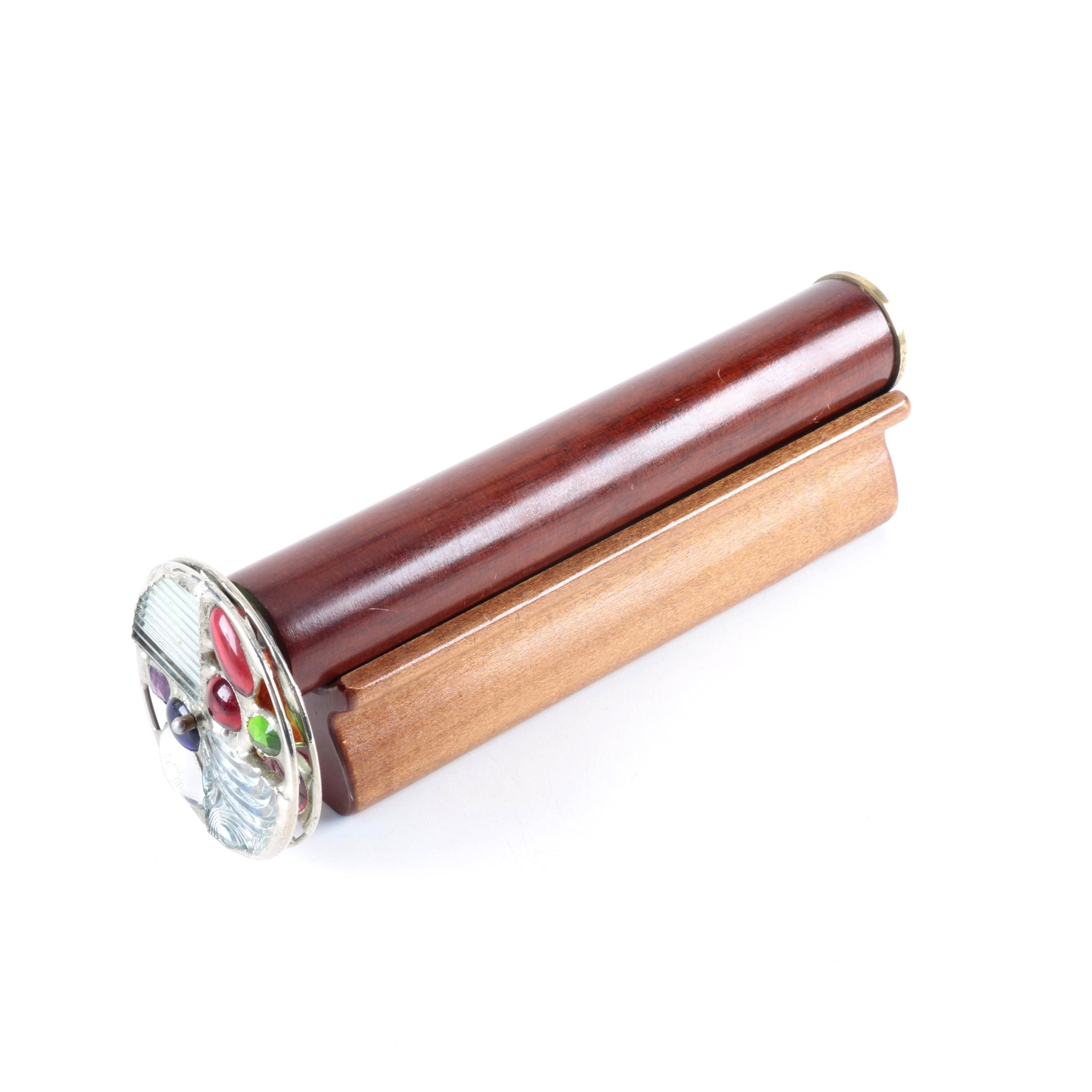 Wood and Glass Kaleidoscope In Stand