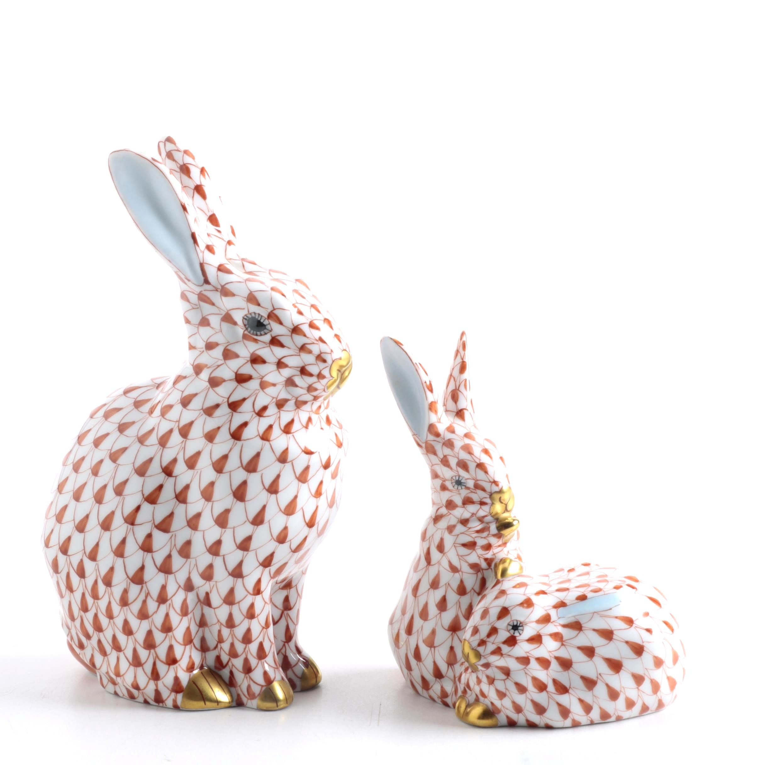 Herend Hungary Hand Painted Bunny Figurines